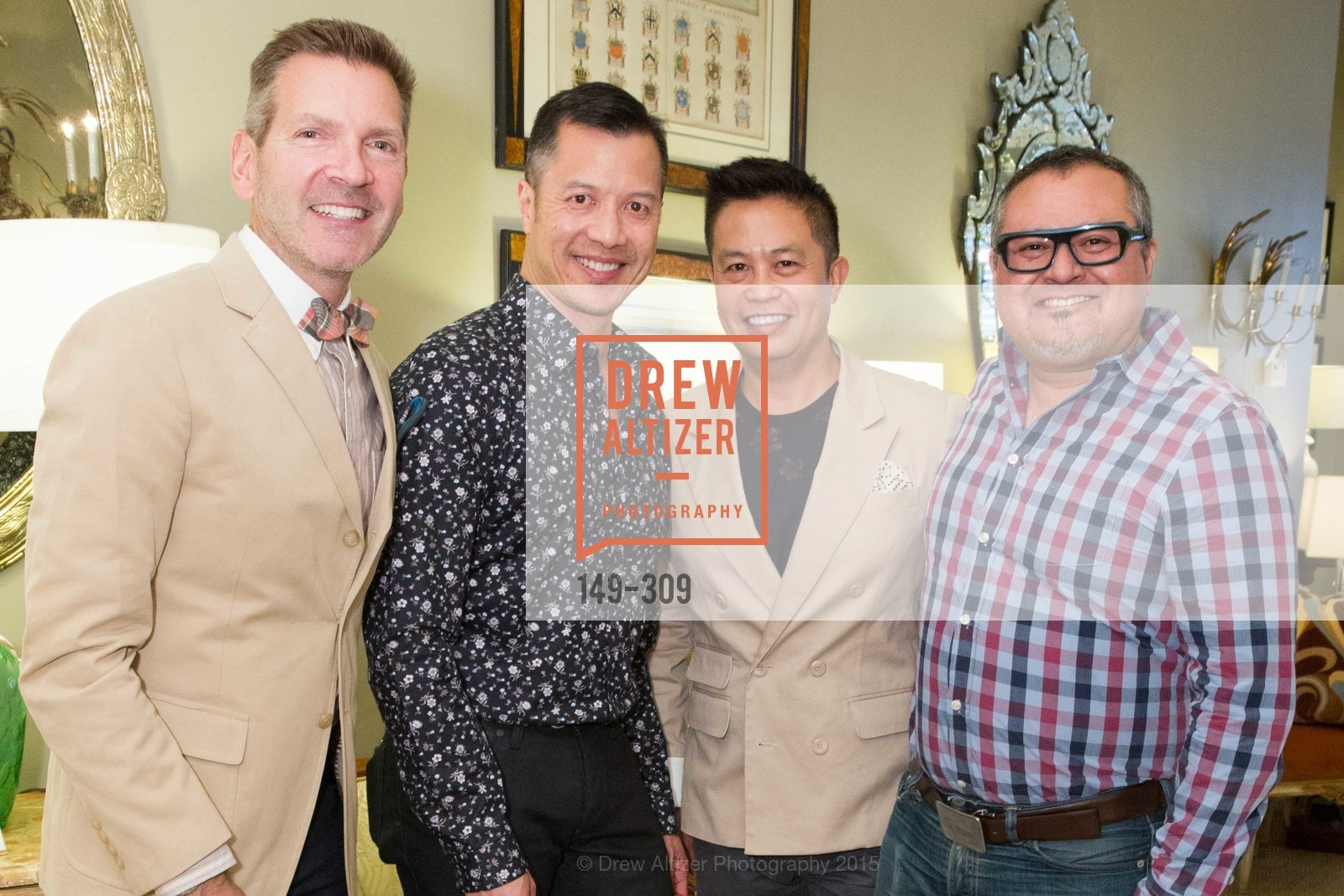 Eric Petsinger, Kevin Yee, Carlo Ablaza, Hector Melendez, The San Francisco Fall Antiques Show Designer's Circle cocktail party hosted by epoca, Epoca, September 23rd, 2015,Drew Altizer, Drew Altizer Photography, full-service agency, private events, San Francisco photographer, photographer california