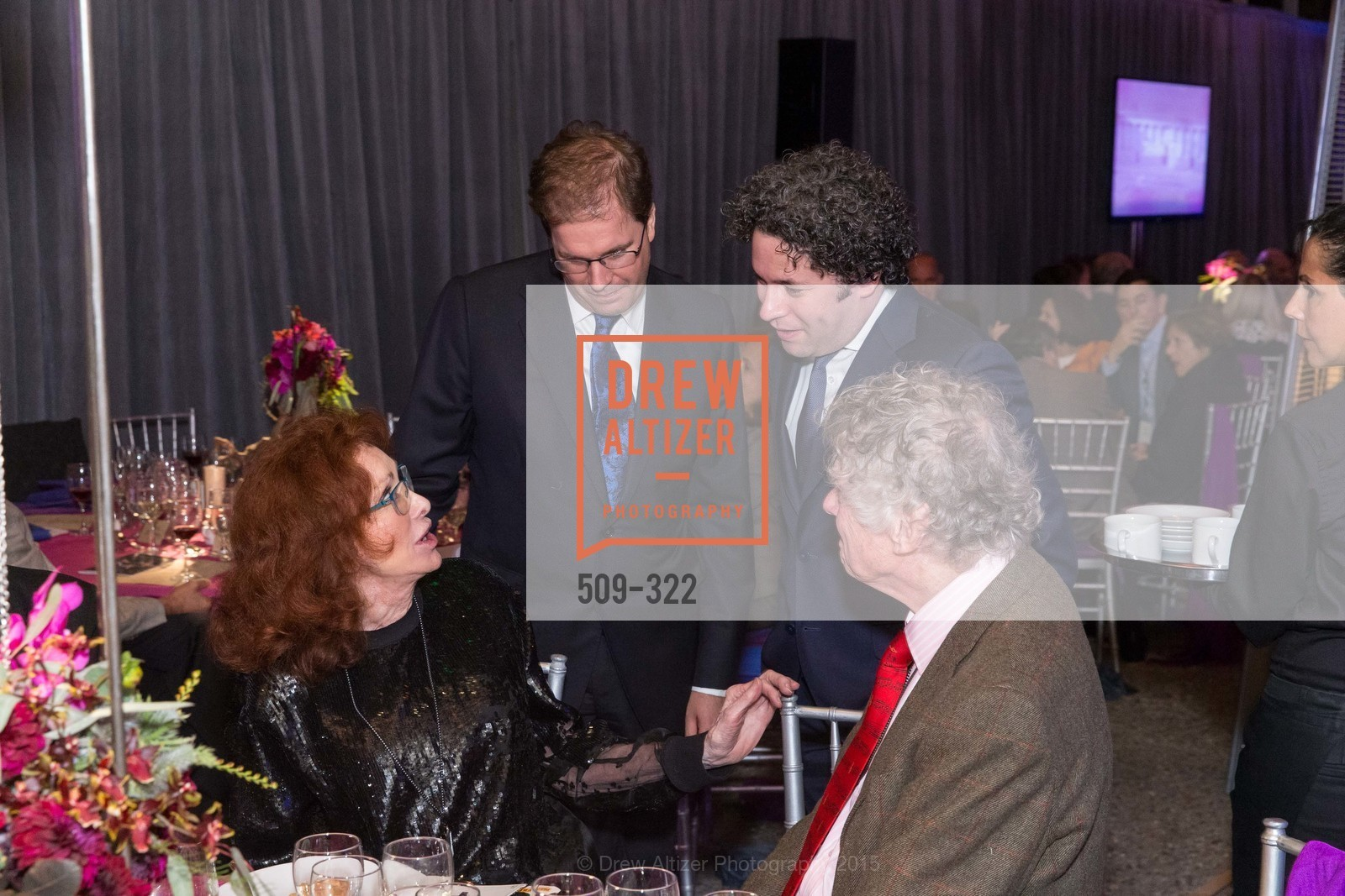 Ann Getty, Matias Tarnopolsky, Gustavo Dudamel, Gordon Getty, Gala at The Greek Benefiting Cal Performances, UC Berkeley's Greek Theatre. 2001 Gayley Rd, September 25th, 2015,Drew Altizer, Drew Altizer Photography, full-service agency, private events, San Francisco photographer, photographer california