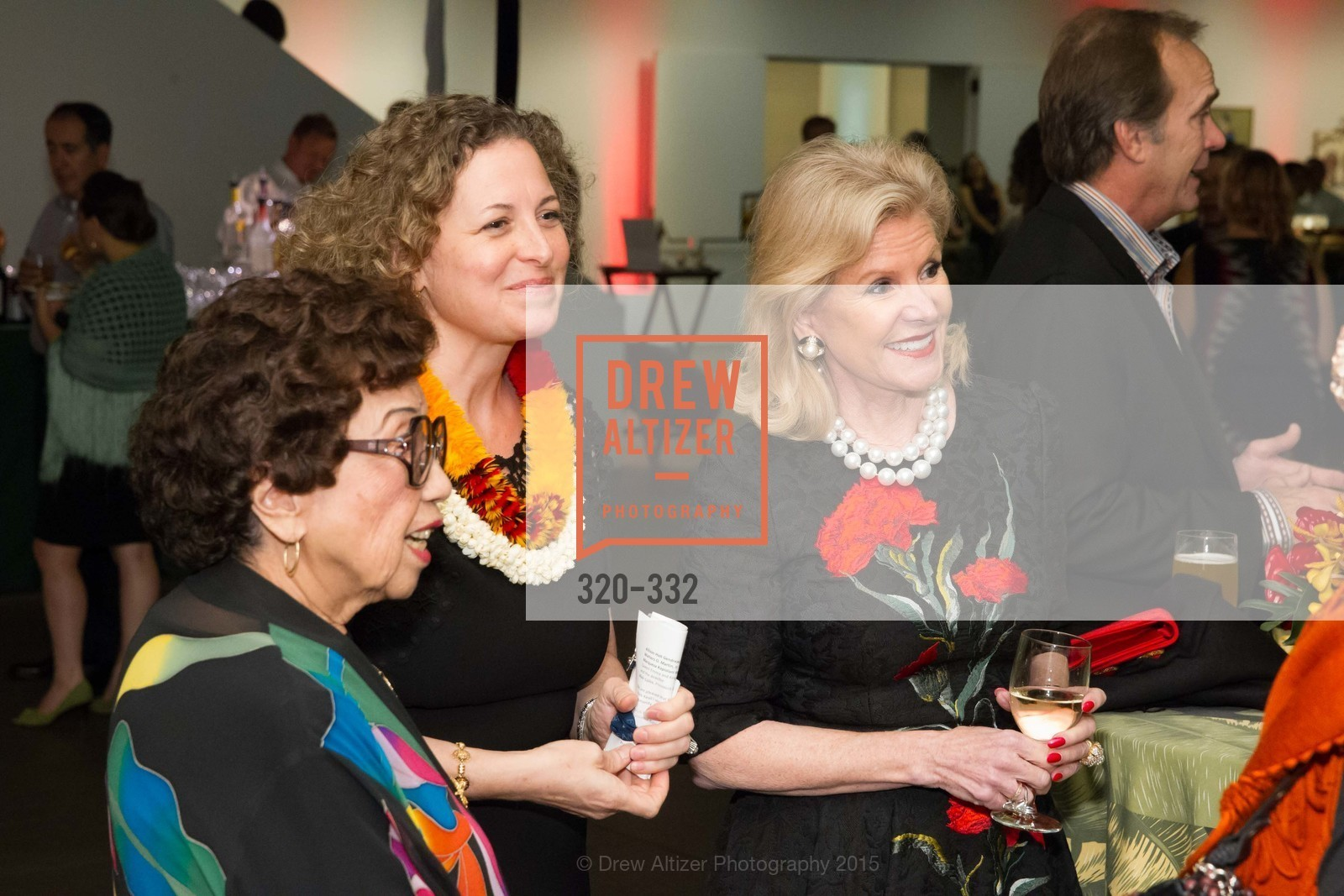 Lin Chen Willis, Christina Helmeck, Dede Wilsey, Royal Hawaiian Featherwork Donor Reception at de Young, de Young Museum, September 30th, 2015,Drew Altizer, Drew Altizer Photography, full-service agency, private events, San Francisco photographer, photographer california