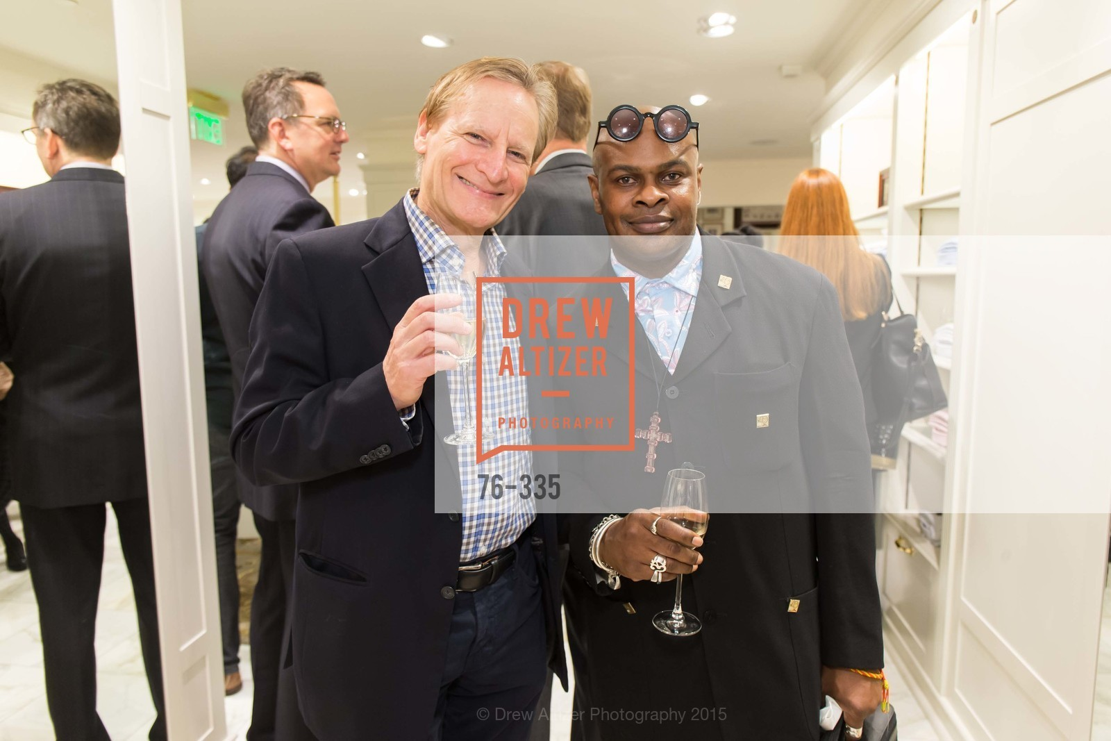 Ernie McNabb, Babatunde Oladoja, Launch Party for The San Francisco Fall Antiques Show, Brooks Brothers. 240 Post St, October 1st, 2015