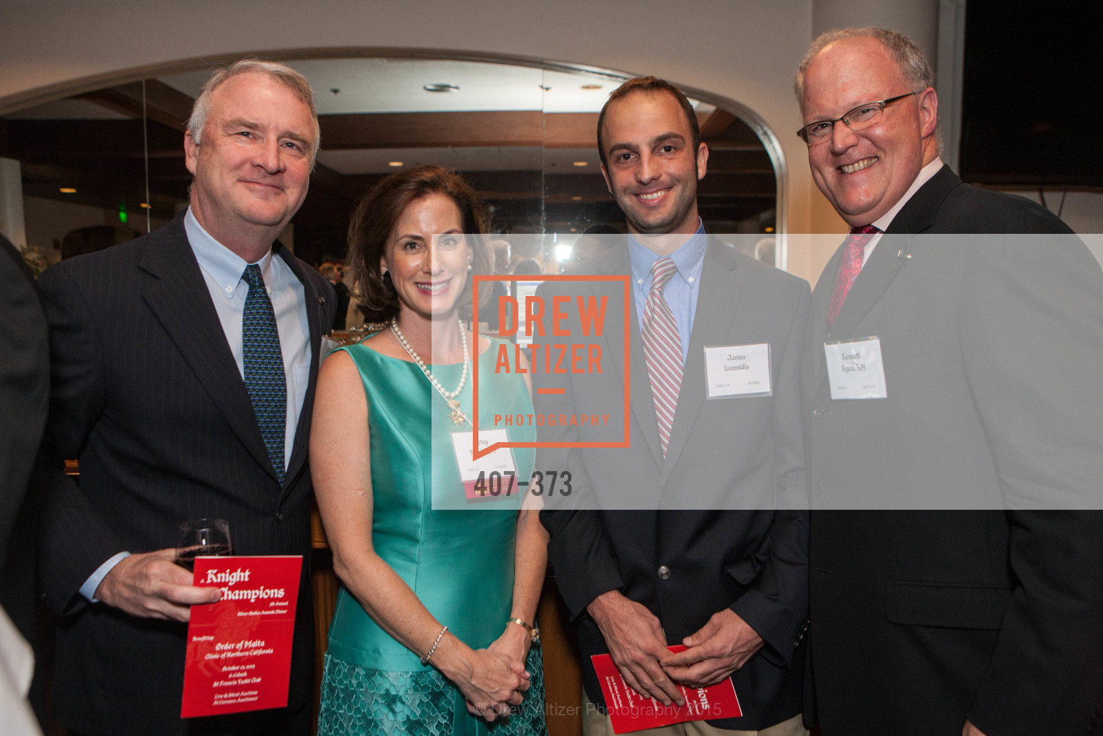 Michael Grace, Elizabeth Minno, James Ioannidis, Kenneth Ryan, Sovereign Order of Malta Presents: A Knight for Champions, 7th Annual Silver Chalice Awards Dinner, St. Francis Yacht Club. 99 Yacht Rd, October 13th, 2015,Drew Altizer, Drew Altizer Photography, full-service agency, private events, San Francisco photographer, photographer california
