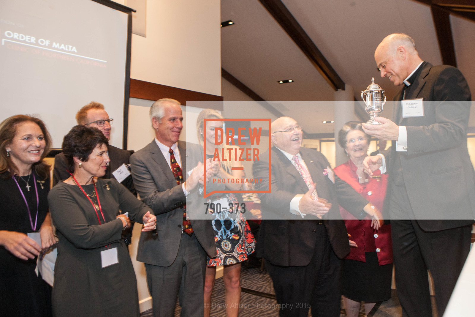 Lisa Simpson, Laura Hosking, Doug Hosking, Katie Hosking, Tony Sanchez-Corea, Lucille Sanchez-Corea, Salvatore Cordileone, Sovereign Order of Malta Presents: A Knight for Champions, 7th Annual Silver Chalice Awards Dinner, St. Francis Yacht Club. 99 Yacht Rd, October 13th, 2015,Drew Altizer, Drew Altizer Photography, full-service agency, private events, San Francisco photographer, photographer california