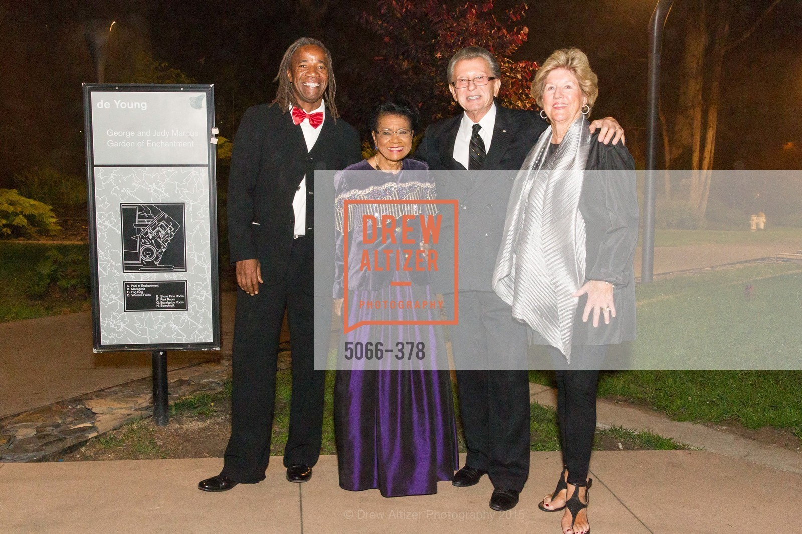 Belva Davis, George Marcus, Judy Marcus, Tenth Anniversary Celebration of the New de Young  Museum, de Young Museum. 50 Hagiwara Tea Garden Dr, October 14th, 2015,Drew Altizer, Drew Altizer Photography, full-service agency, private events, San Francisco photographer, photographer california