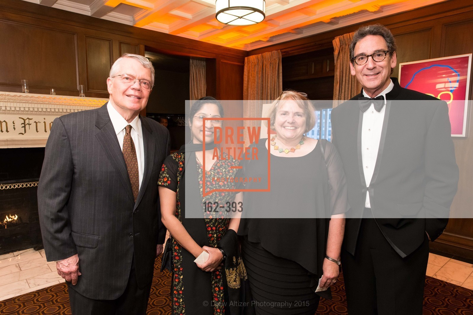 George Smith, Usha Ashok, Camilla Smith, Fred Levin, San Francisco Performances' 36th Season Gala, Merchants Exchange Building, Julia Morgan Ballroom. 465 California St, San Francisco, CA 94104, October 16th, 2015,Drew Altizer, Drew Altizer Photography, full-service agency, private events, San Francisco photographer, photographer california