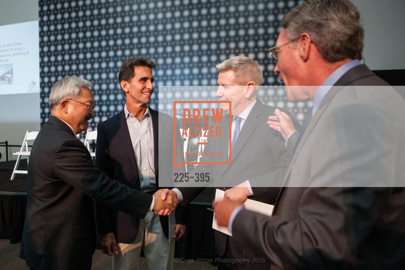 Mayor Ed Lee, Mark Leno, Richard Benefield, 10th Anniversary of the new de Young: Community Day, de Young Museum, October 17th, 2015,Drew Altizer, Drew Altizer Photography, full-service agency, private events, San Francisco photographer, photographer california