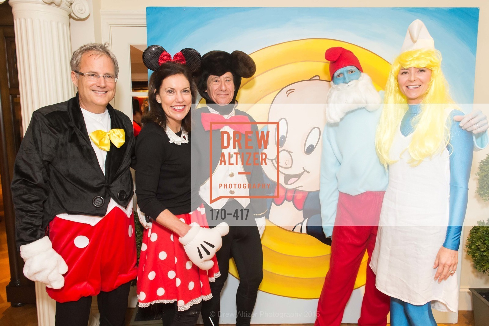 Steve Kliener, Bridget Fish, Howard Fish, Todd Stephens, Tori Stephens, Wolfson-Federighi Cartoon Costume Party, Private Residence. 737 Bay Road, October 24th, 2015,Drew Altizer, Drew Altizer Photography, full-service event agency, private events, San Francisco photographer, photographer California
