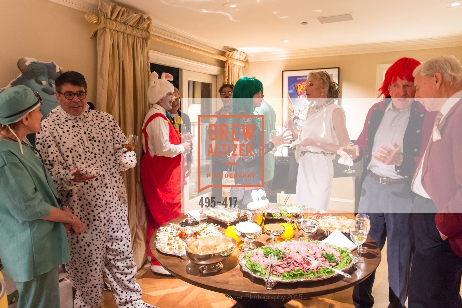 Phoebe Cowles, Gary Garabedian, Bob Federighi, Mary Poland, Alisa Burgess-Blajwas, Bill Poland, Robert Girard, Wolfson-Federighi Cartoon Costume Party, Private Residence. 737 Bay Road, October 24th, 2015,Drew Altizer, Drew Altizer Photography, full-service agency, private events, San Francisco photographer, photographer california