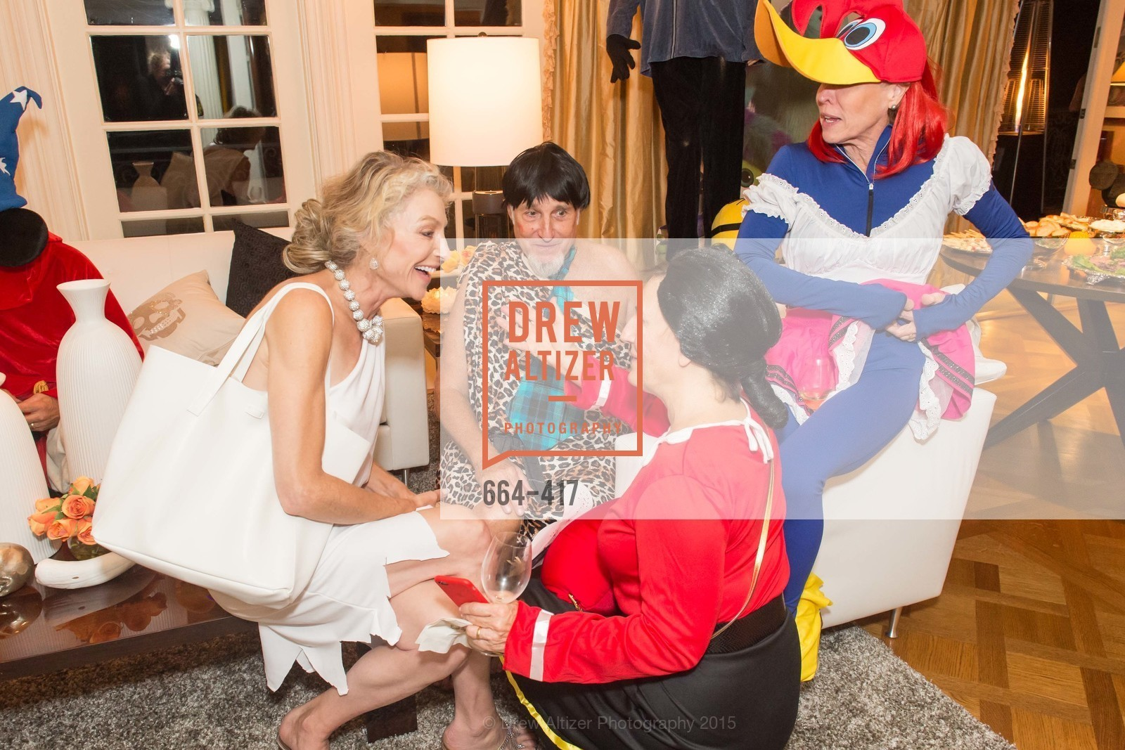 Alisa Burgess-Blajwas, Harold Blajwas, Debby Sagues, Sheila Nemer, Wolfson-Federighi Cartoon Costume Party, Private Residence. 737 Bay Road, October 24th, 2015,Drew Altizer, Drew Altizer Photography, full-service agency, private events, San Francisco photographer, photographer california