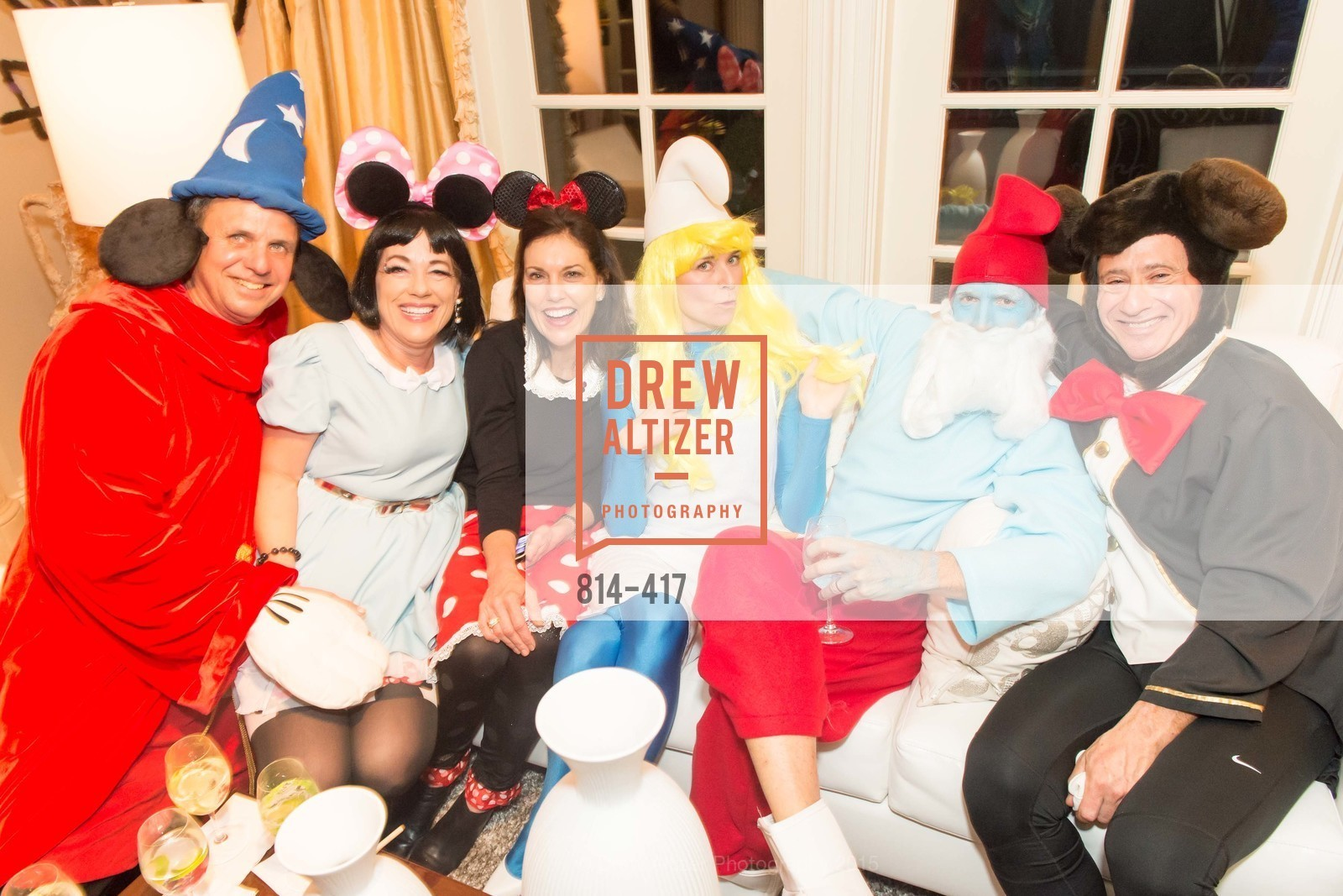 Steve Maniscalco, Brenda Wissbrod, Bridget Fish, Tori Stephens, Todd Stephens, Howard Fish, Wolfson-Federighi Cartoon Costume Party, Private Residence. 737 Bay Road, October 24th, 2015,Drew Altizer, Drew Altizer Photography, full-service agency, private events, San Francisco photographer, photographer california