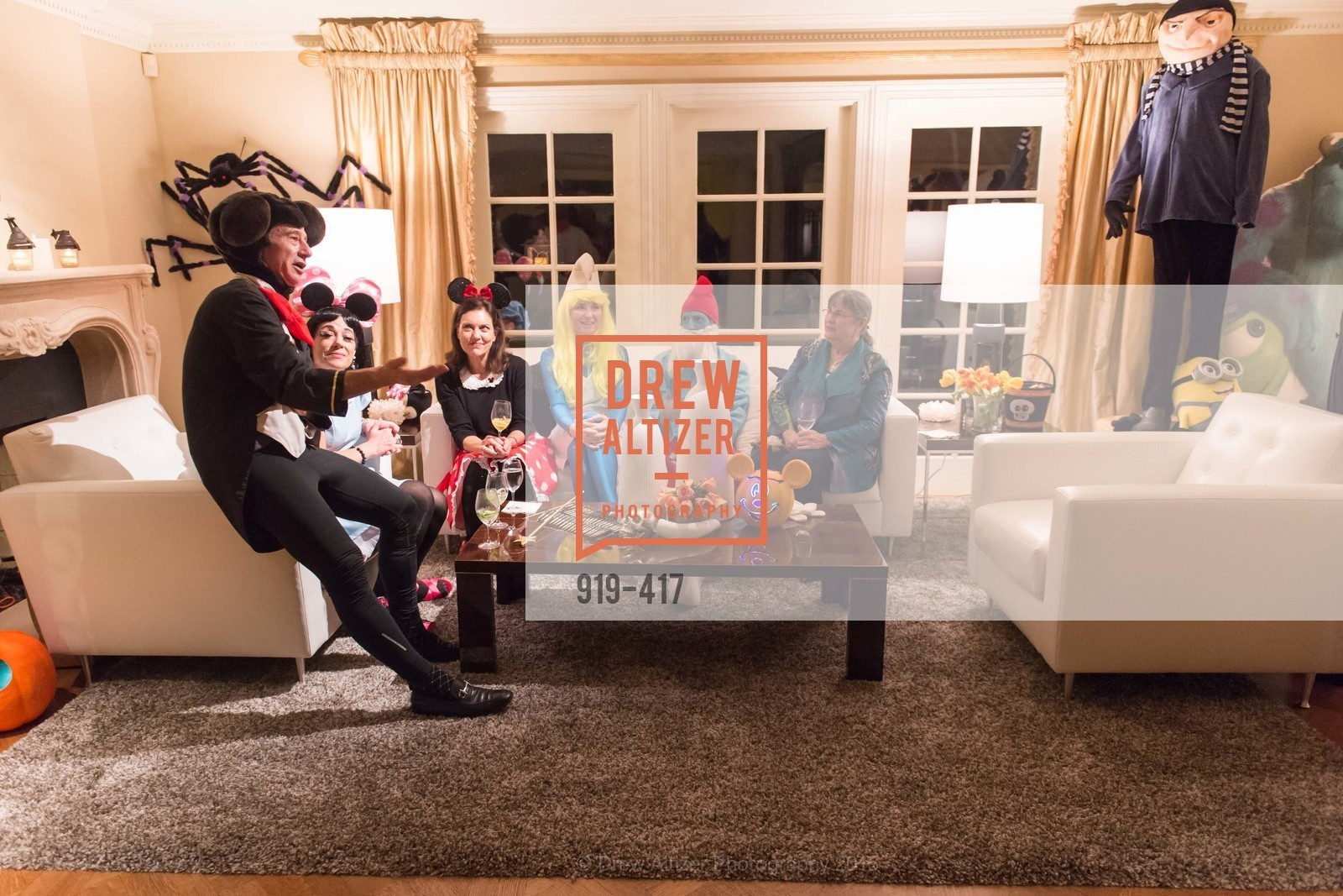 Howard Fish, Brenda Wissbrod, Bridget Fish, Tori Stephens, Todd Stephens, Marge Bundschuh, Wolfson-Federighi Cartoon Costume Party, Private Residence. 737 Bay Road, October 24th, 2015,Drew Altizer, Drew Altizer Photography, full-service agency, private events, San Francisco photographer, photographer california