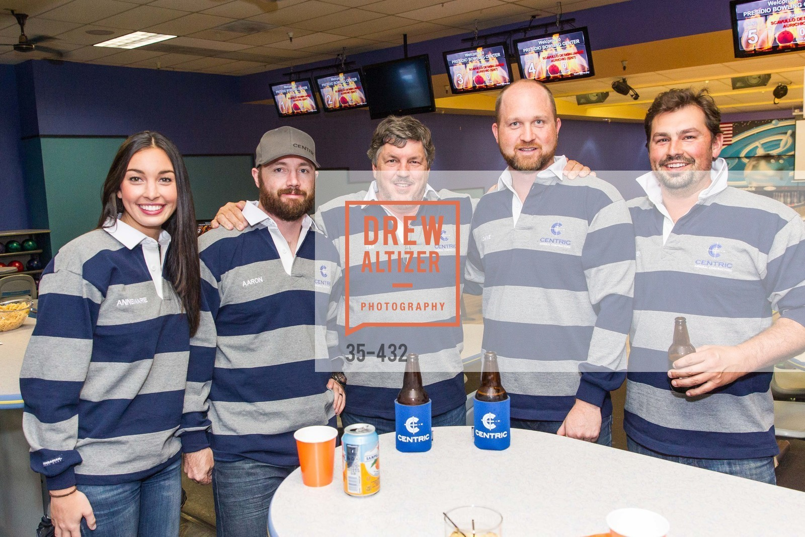 Annemarie Gresh, Aaron Botenhagen, Tim McDonald, Dave Riordan, Branden McDonald, ScavulloDesign Centric Builders Bowling Party, Presidio Bowl. 93 Moraga Ave, October 29th, 2015,Drew Altizer, Drew Altizer Photography, full-service agency, private events, San Francisco photographer, photographer california