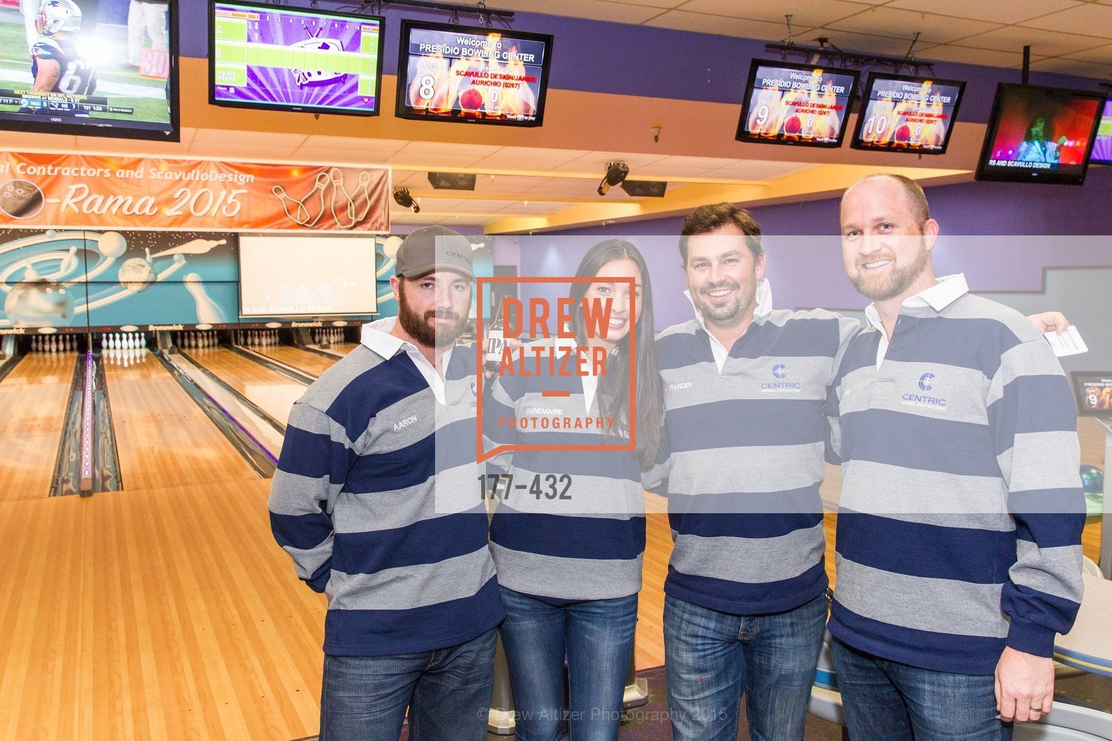 Aaron Botenhagen, Annemarie Gresh, Branden McDonald, Dave Riordan, ScavulloDesign Centric Builders Bowling Party, Presidio Bowl. 93 Moraga Ave, October 29th, 2015,Drew Altizer, Drew Altizer Photography, full-service agency, private events, San Francisco photographer, photographer california