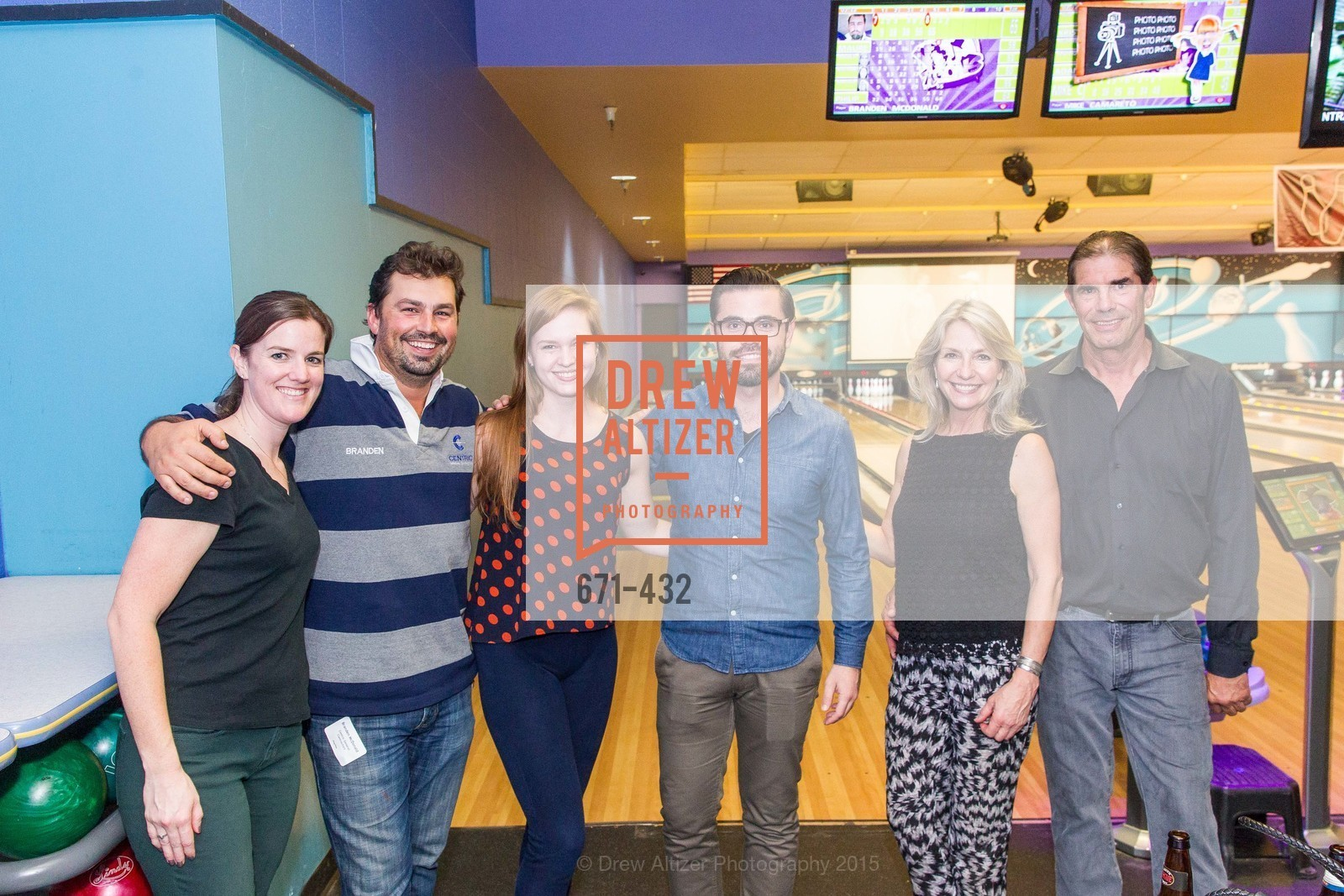 Maureen O'Sullivan, Branden Best, Richael Best, Phillip Bascio, Kathy Geissler Best, John Rosekrans, ScavulloDesign Centric Builders Bowling Party, Presidio Bowl. 93 Moraga Ave, October 29th, 2015,Drew Altizer, Drew Altizer Photography, full-service agency, private events, San Francisco photographer, photographer california