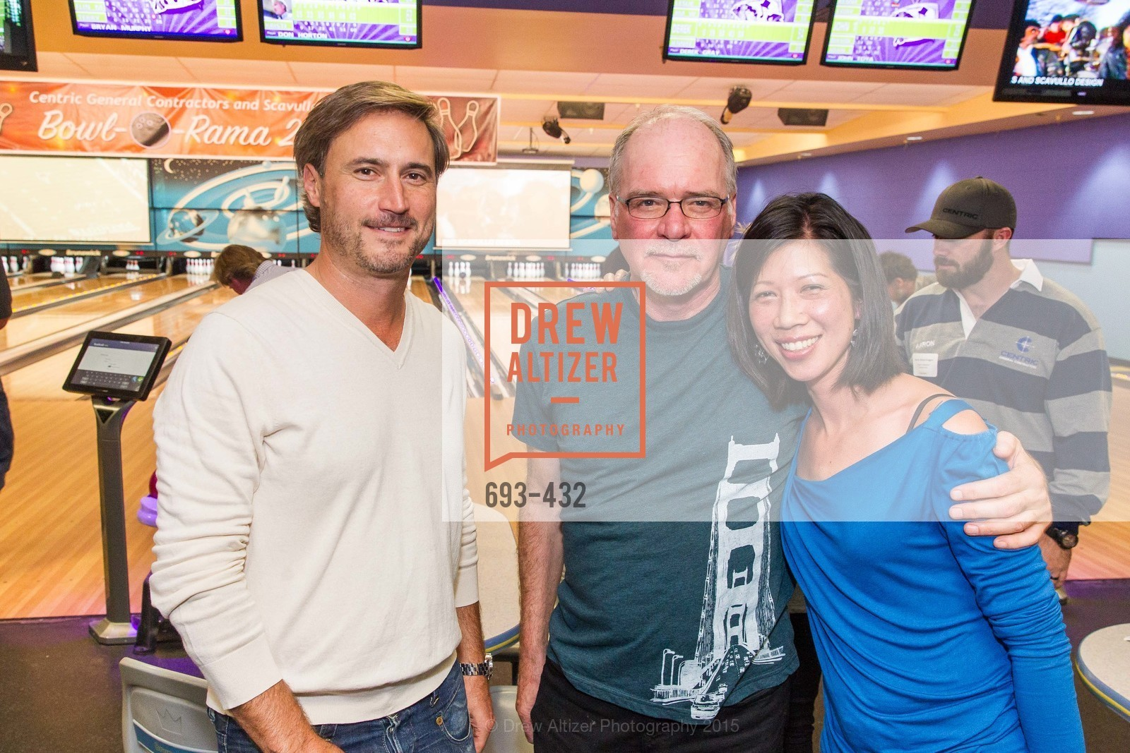 Brad Suskind, Terry Bryant, Stephanie Wong, ScavulloDesign Centric Builders Bowling Party, Presidio Bowl. 93 Moraga Ave, October 29th, 2015,Drew Altizer, Drew Altizer Photography, full-service agency, private events, San Francisco photographer, photographer california