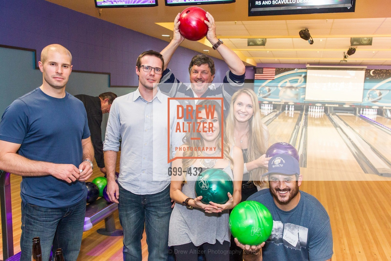 Mike Commaroto, Adam Freeman, Tim McDonald, Michelle Blasi, Krista Barry Anthony Malnati, ScavulloDesign Centric Builders Bowling Party, Presidio Bowl. 93 Moraga Ave, October 29th, 2015,Drew Altizer, Drew Altizer Photography, full-service agency, private events, San Francisco photographer, photographer california