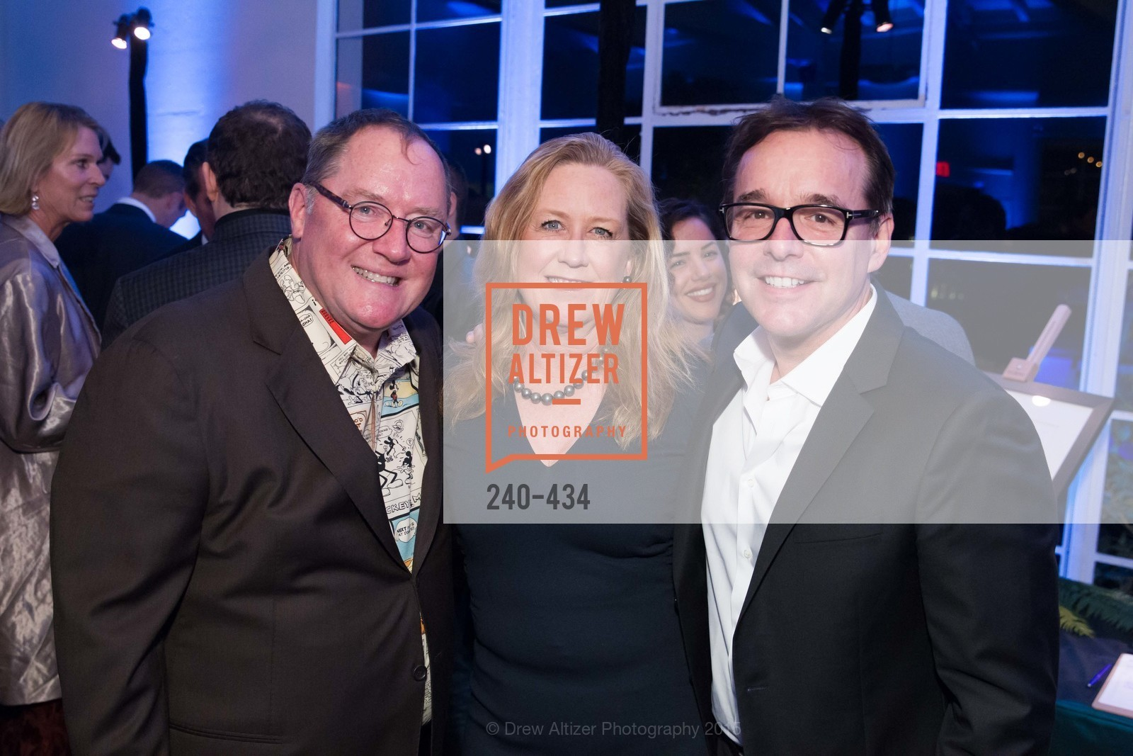 John Lasseter, Monica Devereaux, Chris Columbus, The Walt Disney Family Museum Fundraising Gala and Diane Disney Miller Lifetime Achievement Award, Golden Gate Club. 135 Fisher Loop in the Presidio, November 3rd, 2015,Drew Altizer, Drew Altizer Photography, full-service agency, private events, San Francisco photographer, photographer california