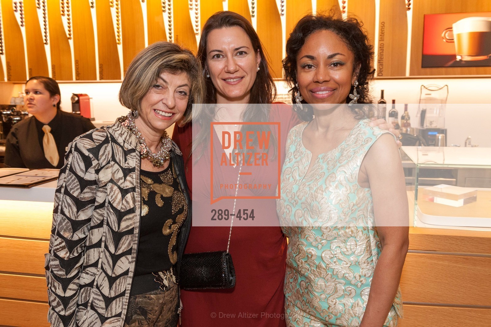Ludmila Eggleton, Zumra Maner, Tanya Powell, 2014 SAN FRANCISCO BALLET ENCORE! Kick-Off Party, US. Nespresso Boutique Bar, 90 Grant Avenue, January 7th, 2014