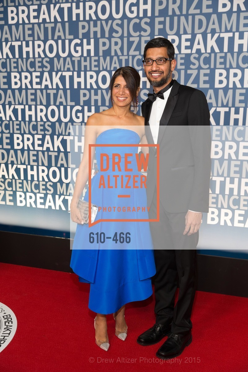 Anjali Pichai, Sundar Pichai, THE BREAKTHROUGH PRIZE Hosted By Seth MacFarlane, Ames Research Center. Naval Air Station, Moffett Field, November 8th, 2015,Drew Altizer, Drew Altizer Photography, full-service agency, private events, San Francisco photographer, photographer california