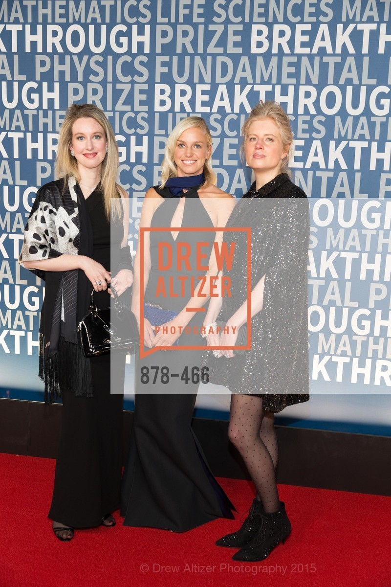 Elizaberth Holmes, Lucy Page, Laura Arrillaga-Andreessen, THE BREAKTHROUGH PRIZE Hosted By Seth MacFarlane, Ames Research Center. Naval Air Station, Moffett Field, November 8th, 2015,Drew Altizer, Drew Altizer Photography, full-service agency, private events, San Francisco photographer, photographer california