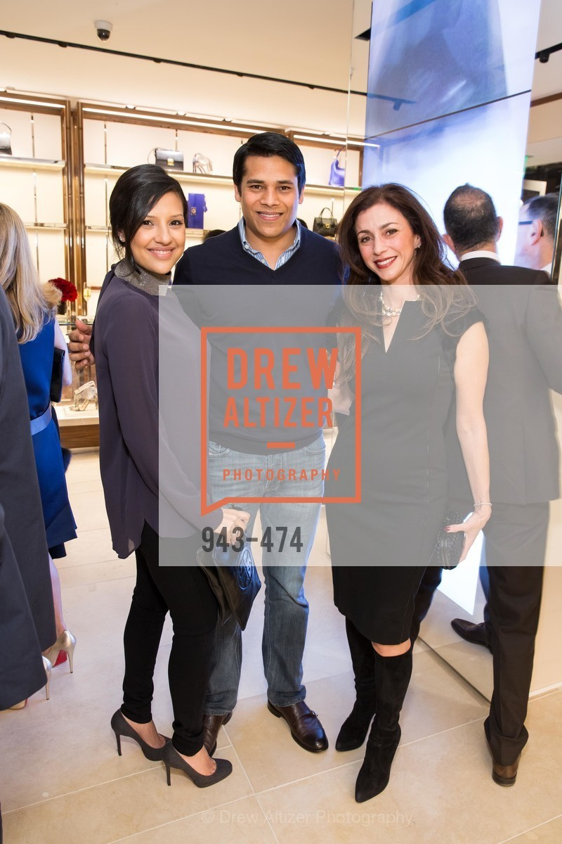 Megha Tolia, Nirav Tolia, Maryam Muduroglu, SALVATORE FERRAGAMO San Francisco Re-Opening, US. US, January 23rd, 2014