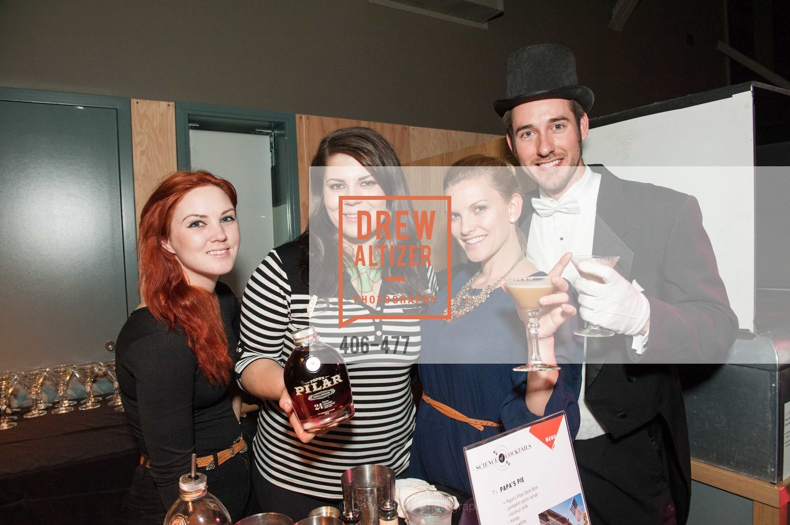 Elizabeth Fale, Jesse Lorraine, Jessica Choate, Thomas Jefferson, THE EXPLORATORIUM LAB Presents 2014 Science of Cocktails, US. US, January 24th, 2014,Drew Altizer, Drew Altizer Photography, full-service agency, private events, San Francisco photographer, photographer california