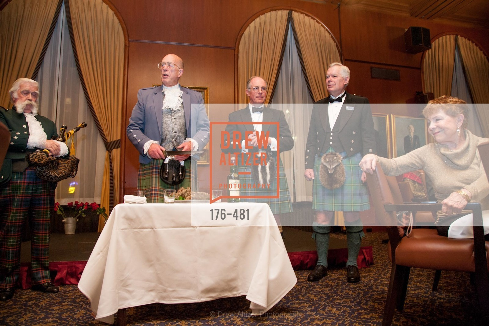 Jek Cunningham, Fred Macondray, Bruce McMillan, Kent Walker, ST. ANDREW'S SOCIETY OF SAN FRANCISCO'S Traditional Burns Night Supper 2014, US. US, January 25th, 2014,Drew Altizer, Drew Altizer Photography, full-service agency, private events, San Francisco photographer, photographer california