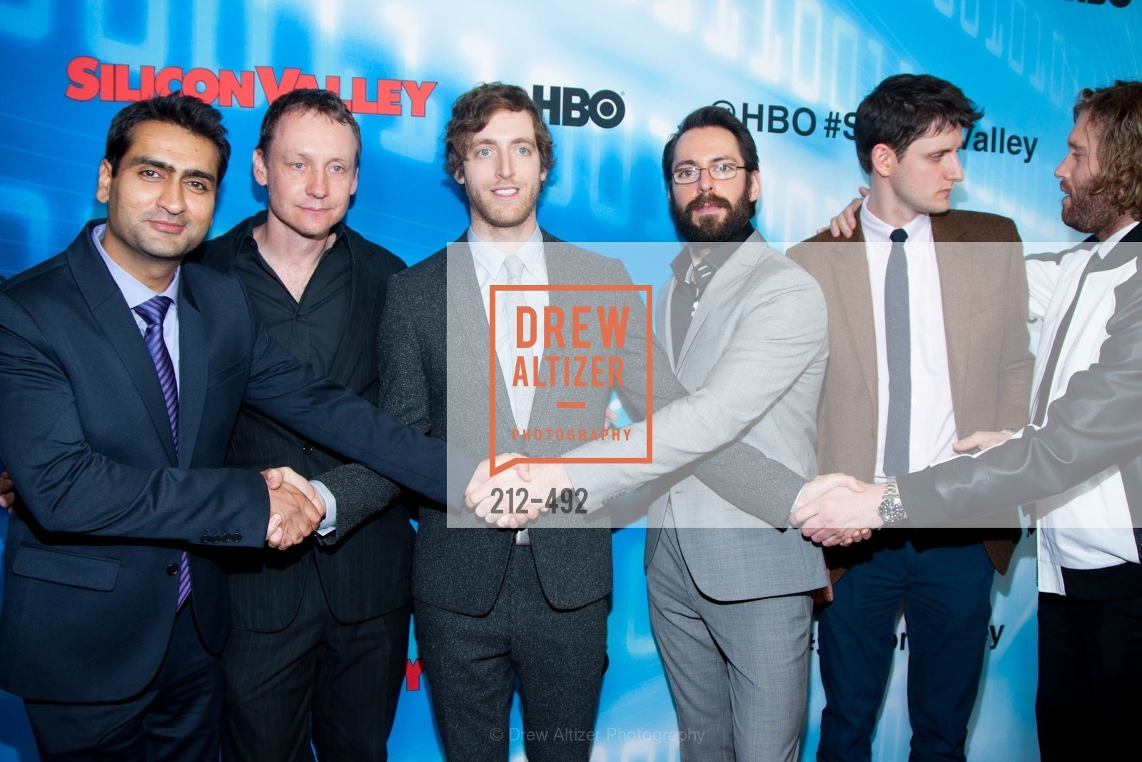 Kumail Nanjiani, Alec Berg, Thomas Middleditch, Martin Starr, Zach Woods, HBO Original Series 'Silicon Valley' Bay Area Premiere, US. US, April 2nd, 2014,Drew Altizer, Drew Altizer Photography, full-service agency, private events, San Francisco photographer, photographer california