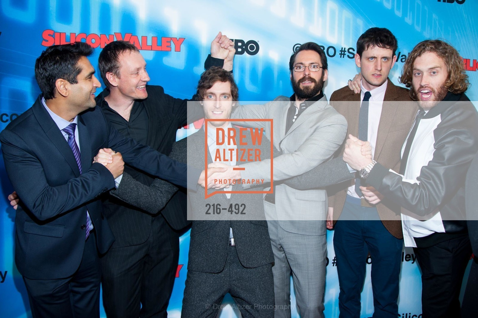 Kumail Nanjiani, Alec Berg, Thomas Middleditch, Martin Starr, Zach Woods, TJ Miller, HBO Original Series 'Silicon Valley' Bay Area Premiere, US. US, April 2nd, 2014,Drew Altizer, Drew Altizer Photography, full-service event agency, private events, San Francisco photographer, photographer California