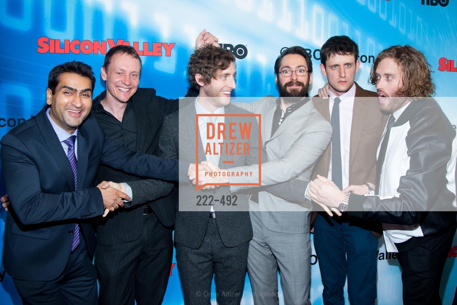 Kumail Nanjiani, Alec Berg, Thomas Middleditch, Martin Starr, Zach Woods, TJ Miller, HBO Original Series 'Silicon Valley' Bay Area Premiere, US. US, April 2nd, 2014,Drew Altizer, Drew Altizer Photography, full-service agency, private events, San Francisco photographer, photographer california