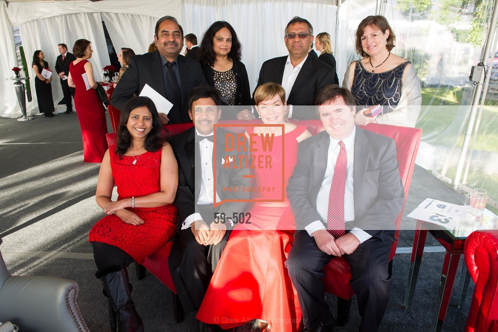 Radha Katta, Sagar Anisingaraju, Suresh Katta, Latha Anisingaraju, Paula Downey, Sanjeev Kumar, Philip Dodsdon, Michelle Dodsdon, 2014 RED CROSS Gala Honoring Paula Downey as the American Red Cross Bay Area Chapter Humanitarian CEO of the Year, US. Treasure Island (The Great Lawn), April 5th, 2014,Drew Altizer, Drew Altizer Photography, full-service event agency, private events, San Francisco photographer, photographer California