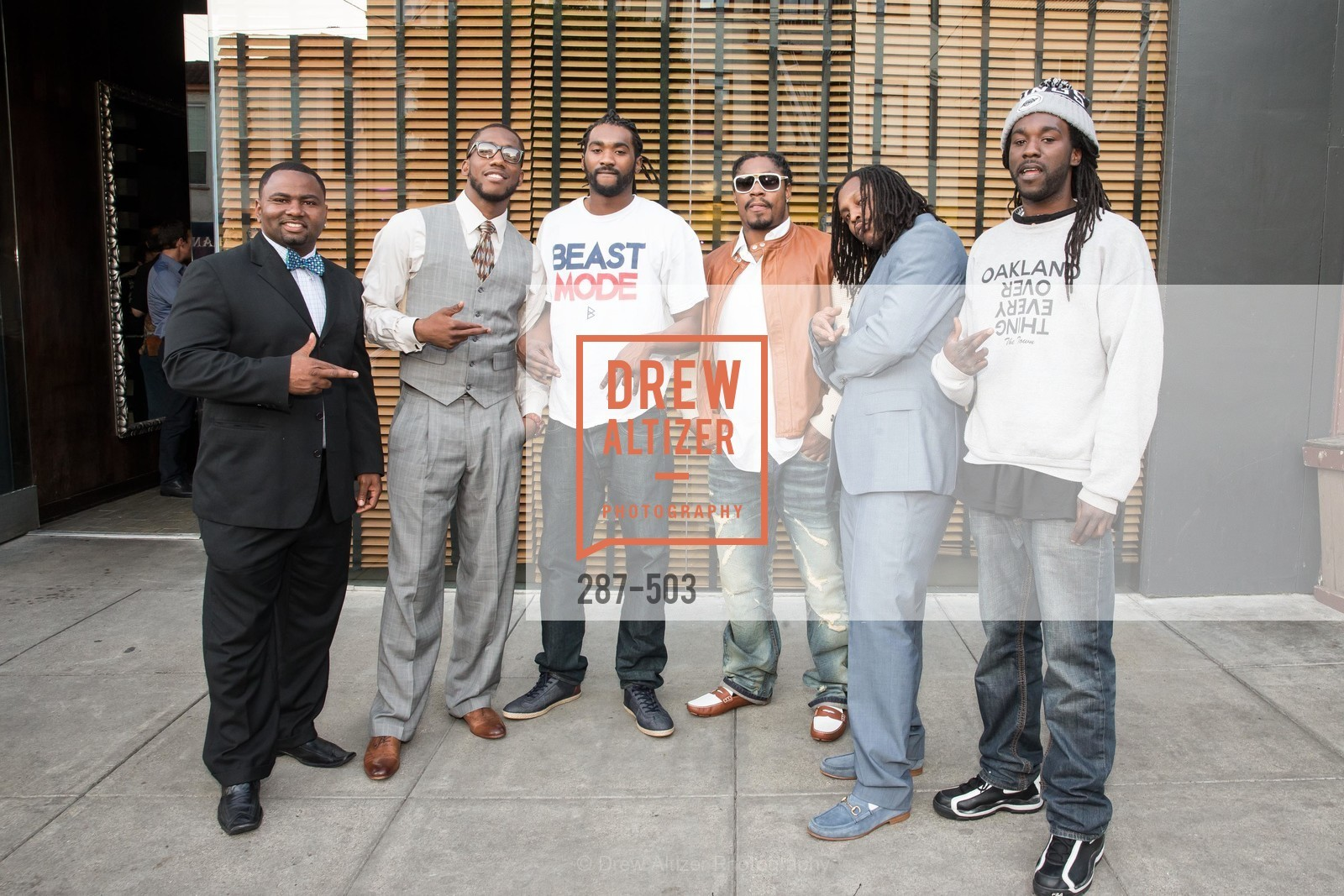 Kevin Parker, Josh Johnson, Marshawn Lynch, NFL CELEBRITY Bartending Event, US. US, April 7th, 2014,Drew Altizer, Drew Altizer Photography, full-service agency, private events, San Francisco photographer, photographer california