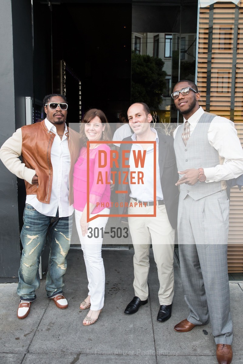 Marshawn Lynch, Lynne Roberts, Greg Roberts, Josh Johnson, NFL CELEBRITY Bartending Event, US. US, April 7th, 2014,Drew Altizer, Drew Altizer Photography, full-service agency, private events, San Francisco photographer, photographer california