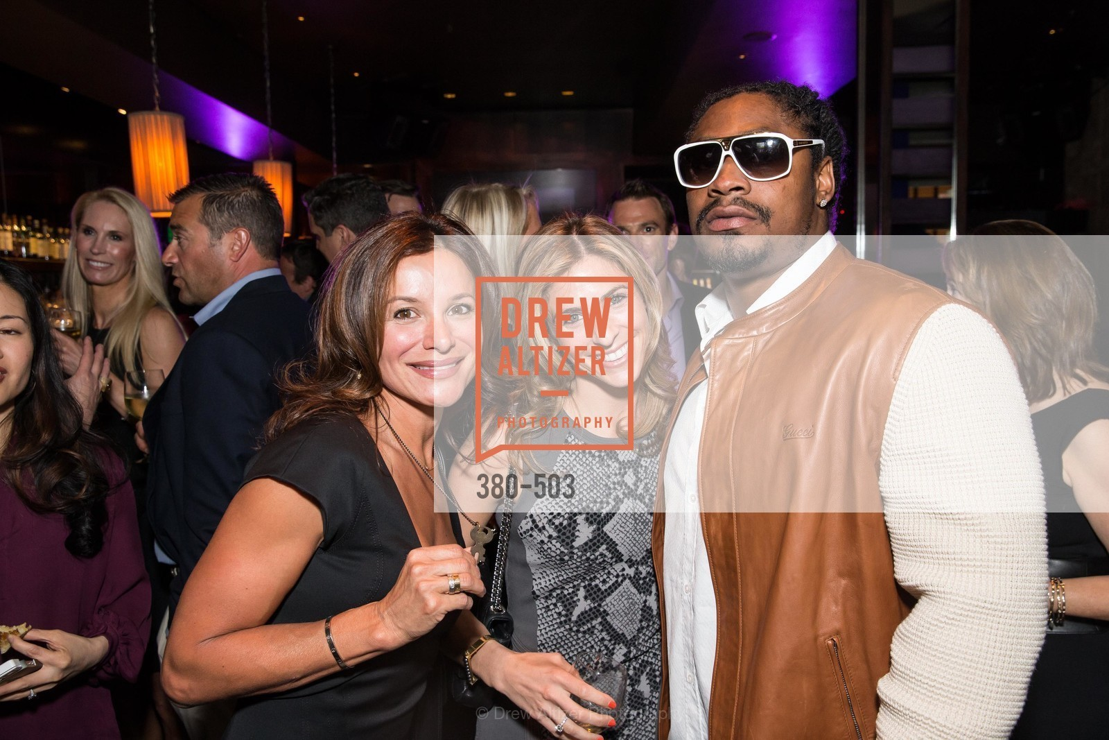Claudia Ross, Tara Shane, Marshawn Lynch, NFL CELEBRITY Bartending Event, US. US, April 7th, 2014,Drew Altizer, Drew Altizer Photography, full-service agency, private events, San Francisco photographer, photographer california