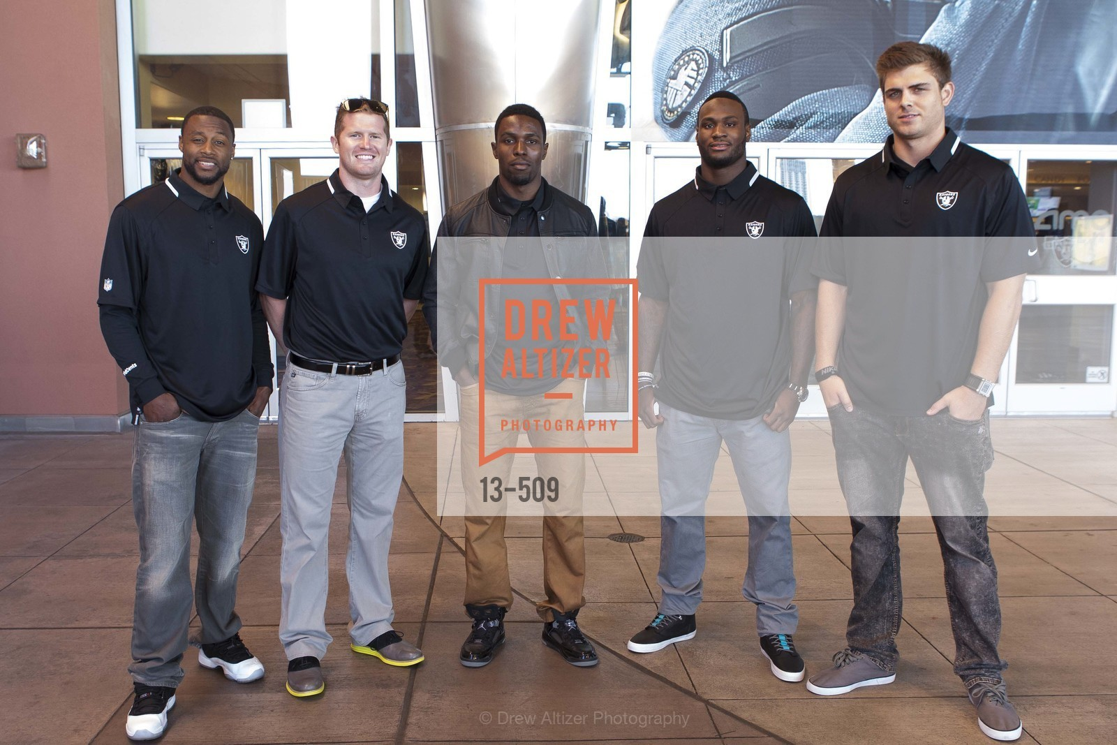 Taiwan Jones, Matthew McGloin, Chimdi Chekwa, Latavius Murray, Nick Kasa, SUMMIT ENTERTAINMENT Presents a Special Screening of DRAFT DAY with the Oakland Raiders, US. AMC 16 Shellmound, Emeryville, Ca, April 9th, 2014,Drew Altizer, Drew Altizer Photography, full-service event agency, private events, San Francisco photographer, photographer California