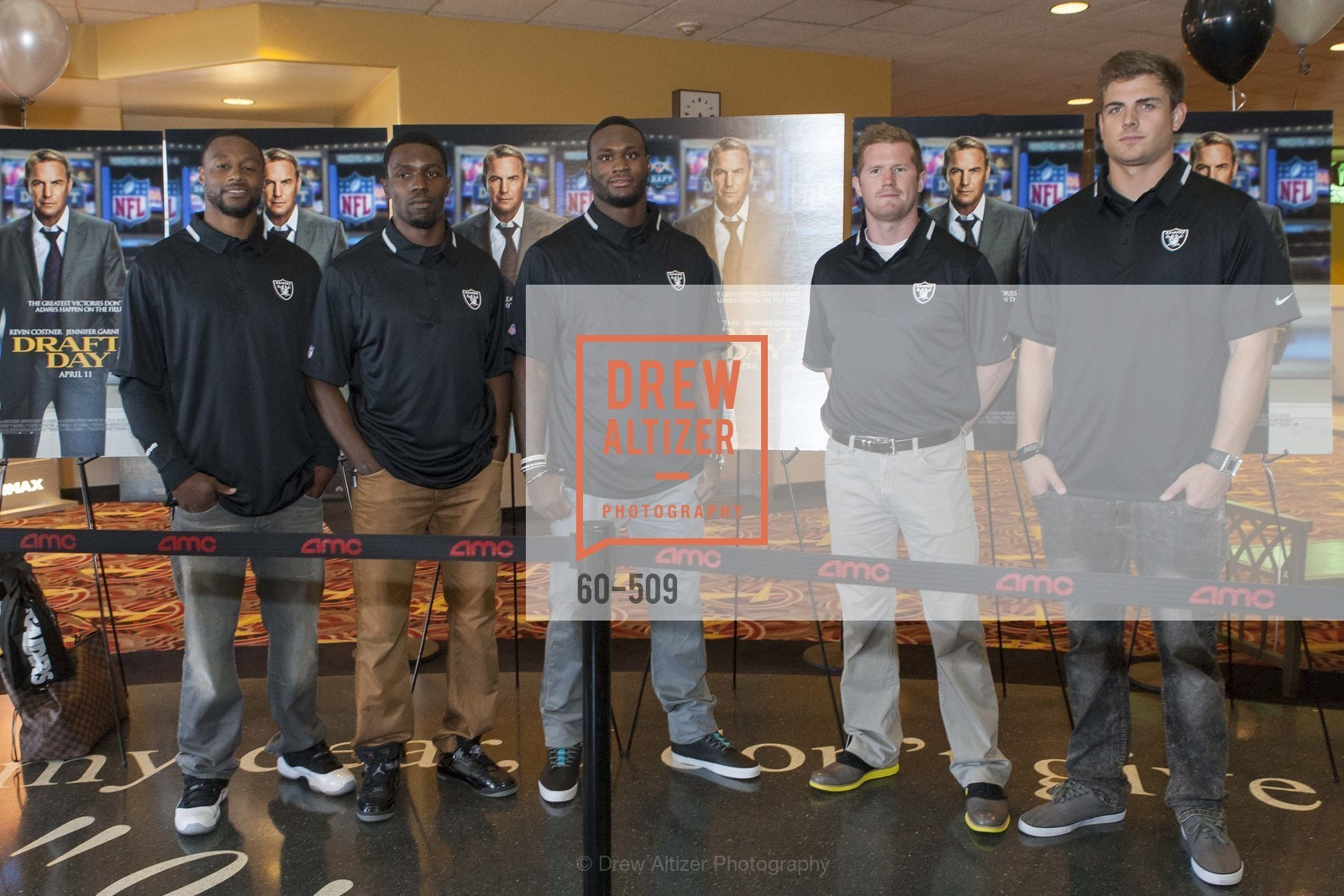 Taiwan Jones, Chimdi Chekwa, Latavius Murray, Matthew McGloin, Nick Kasa, SUMMIT ENTERTAINMENT Presents a Special Screening of DRAFT DAY with the Oakland Raiders, US. AMC 16 Shellmound, Emeryville, Ca, April 9th, 2014,Drew Altizer, Drew Altizer Photography, full-service event agency, private events, San Francisco photographer, photographer California