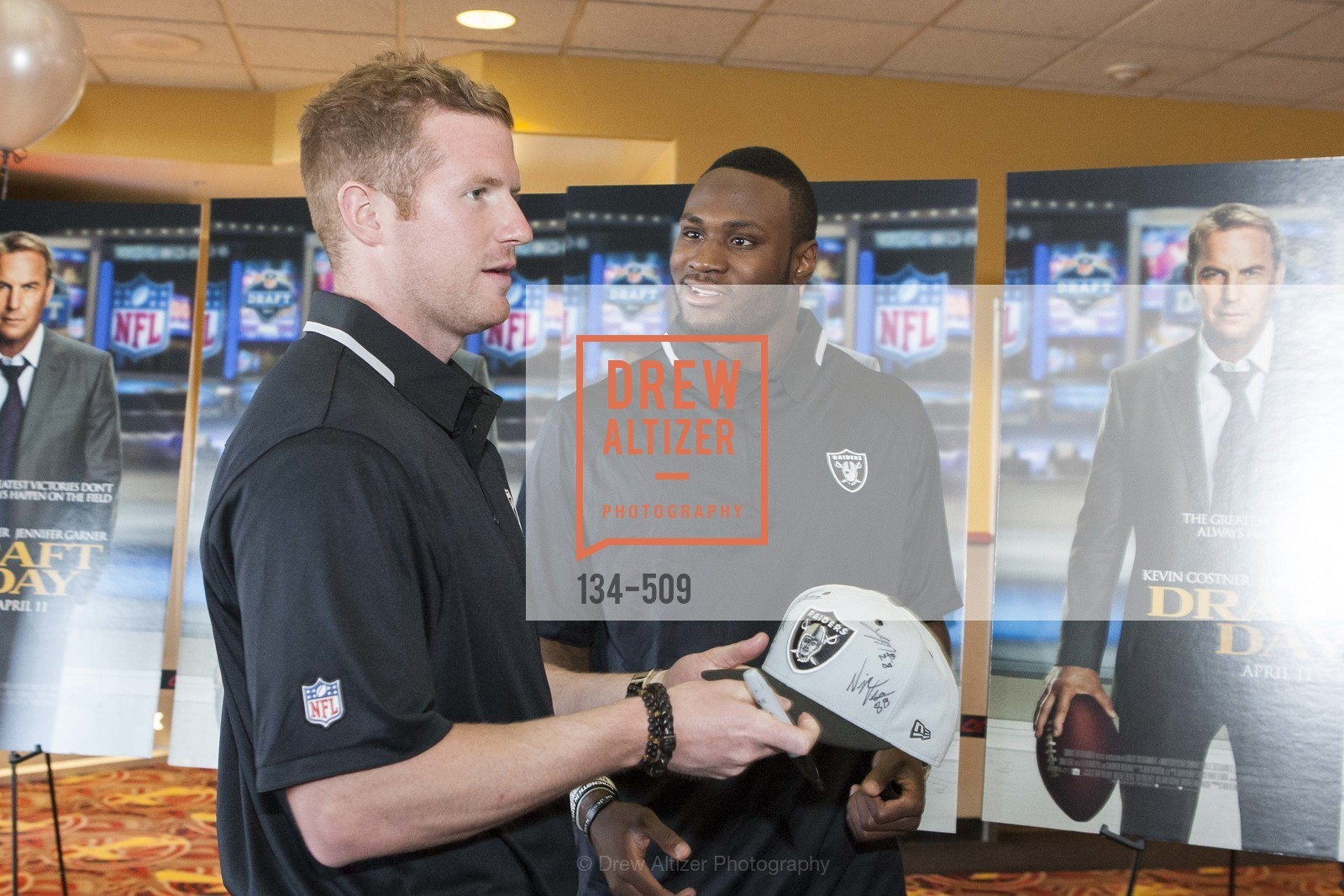 Matthew McGloin, Latavius Murray, SUMMIT ENTERTAINMENT Presents a Special Screening of DRAFT DAY with the Oakland Raiders, US. AMC 16 Shellmound, Emeryville, Ca, April 9th, 2014,Drew Altizer, Drew Altizer Photography, full-service agency, private events, San Francisco photographer, photographer california