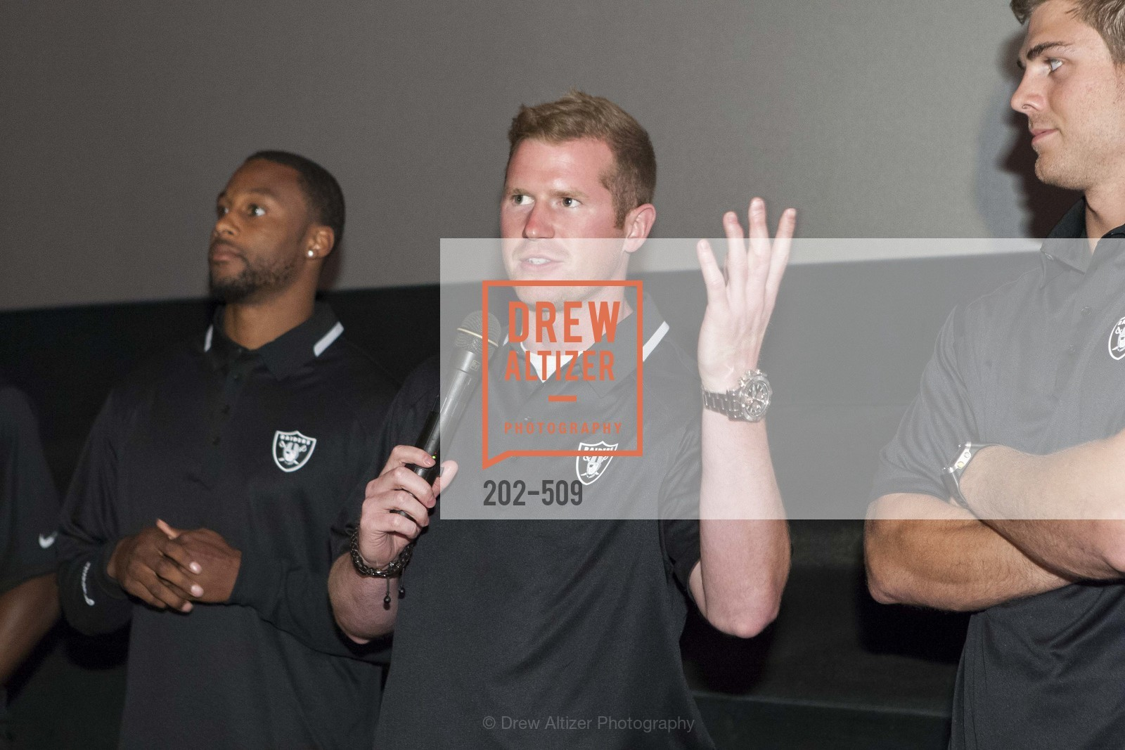 Taiwan Jones, Matthew McGloin, SUMMIT ENTERTAINMENT Presents a Special Screening of DRAFT DAY with the Oakland Raiders, US. AMC 16 Shellmound, Emeryville, Ca, April 9th, 2014,Drew Altizer, Drew Altizer Photography, full-service event agency, private events, San Francisco photographer, photographer California
