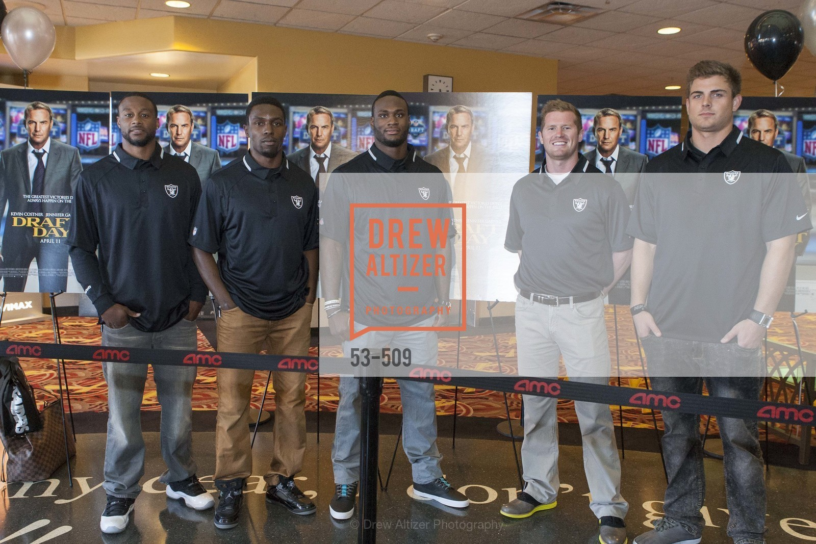 Taiwan Jones, Chimdi Chekwa, Latavius Murray, Matthew McGloin, Nick Kasa, SUMMIT ENTERTAINMENT Presents a Special Screening of DRAFT DAY with the Oakland Raiders, US. AMC 16 Shellmound, Emeryville, Ca, April 9th, 2014,Drew Altizer, Drew Altizer Photography, full-service agency, private events, San Francisco photographer, photographer california