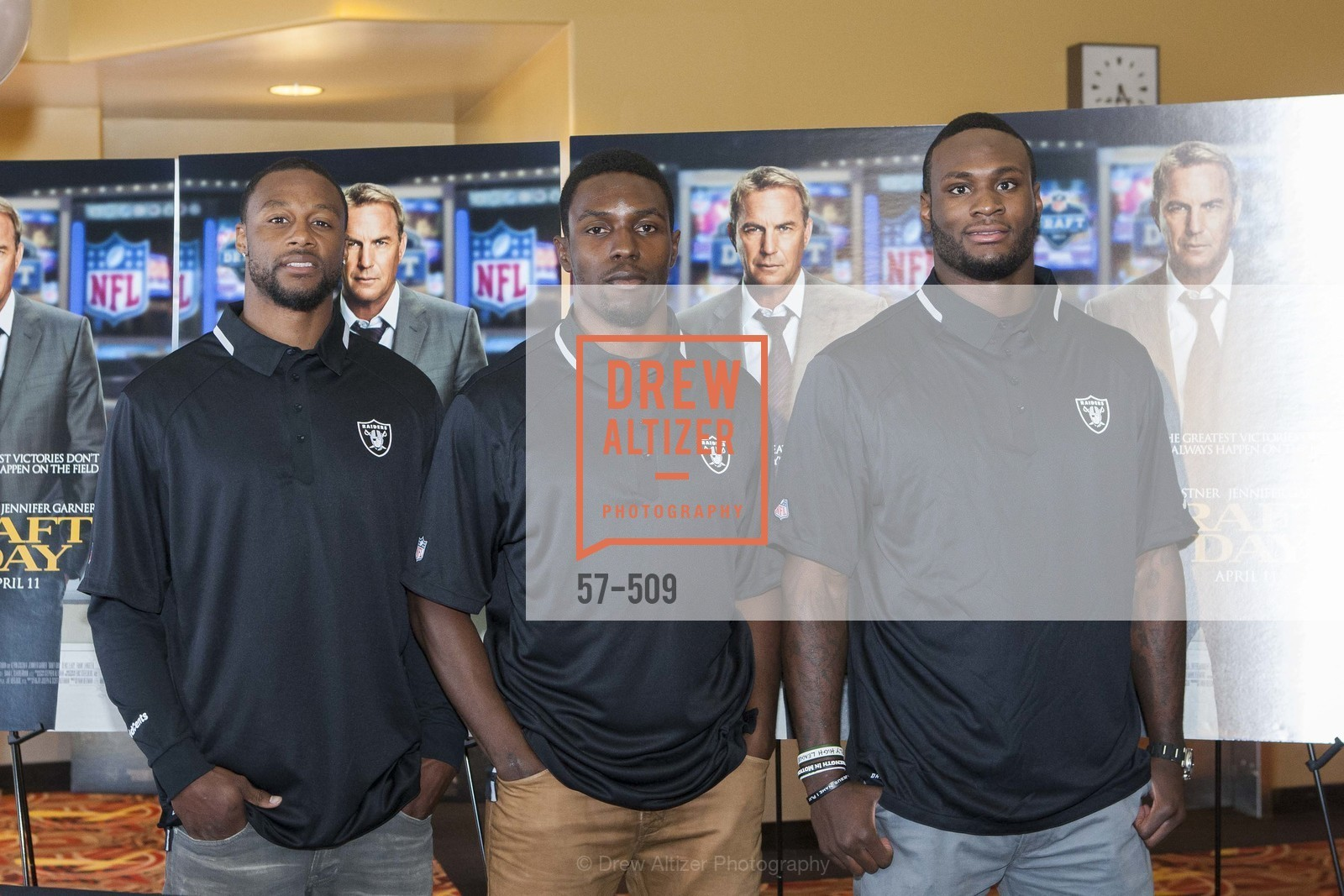 Taiwan Jones, Chimdi Chekwa, Latavius Murray, SUMMIT ENTERTAINMENT Presents a Special Screening of DRAFT DAY with the Oakland Raiders, US. AMC 16 Shellmound, Emeryville, Ca, April 9th, 2014,Drew Altizer, Drew Altizer Photography, full-service agency, private events, San Francisco photographer, photographer california