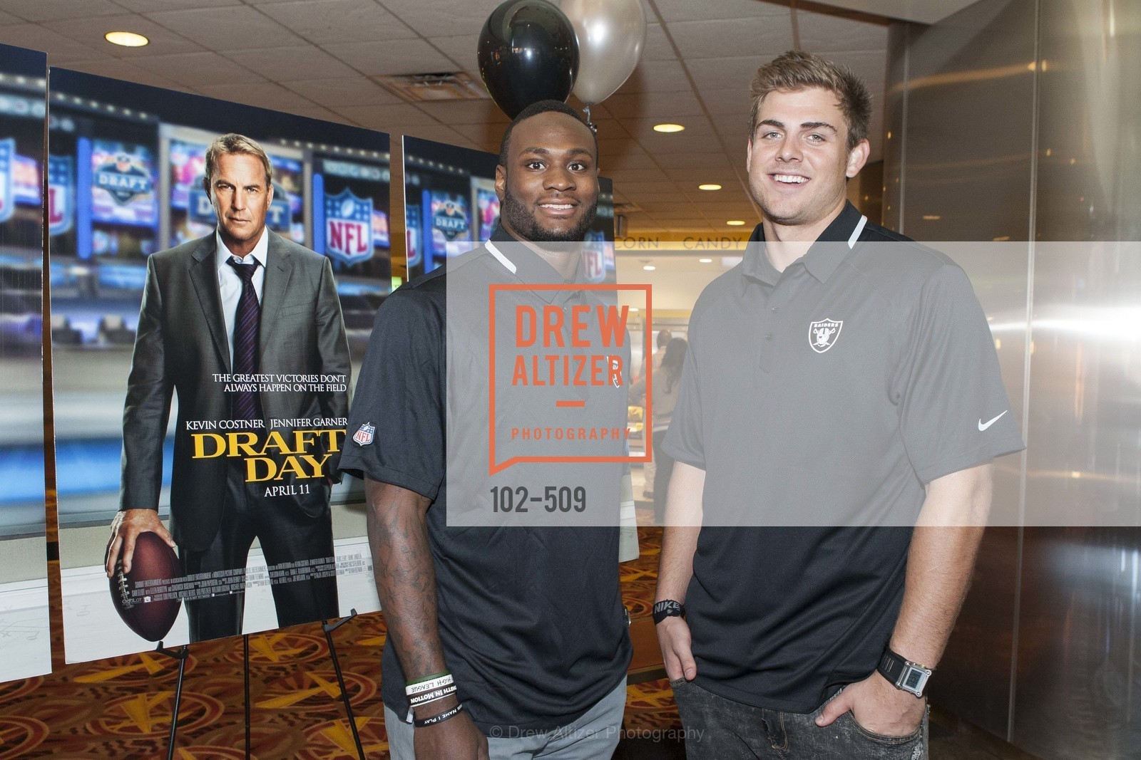 Latavius Murray, Nick Kasa, SUMMIT ENTERTAINMENT Presents a Special Screening of DRAFT DAY with the Oakland Raiders, US. AMC 16 Shellmound, Emeryville, Ca, April 9th, 2014,Drew Altizer, Drew Altizer Photography, full-service agency, private events, San Francisco photographer, photographer california