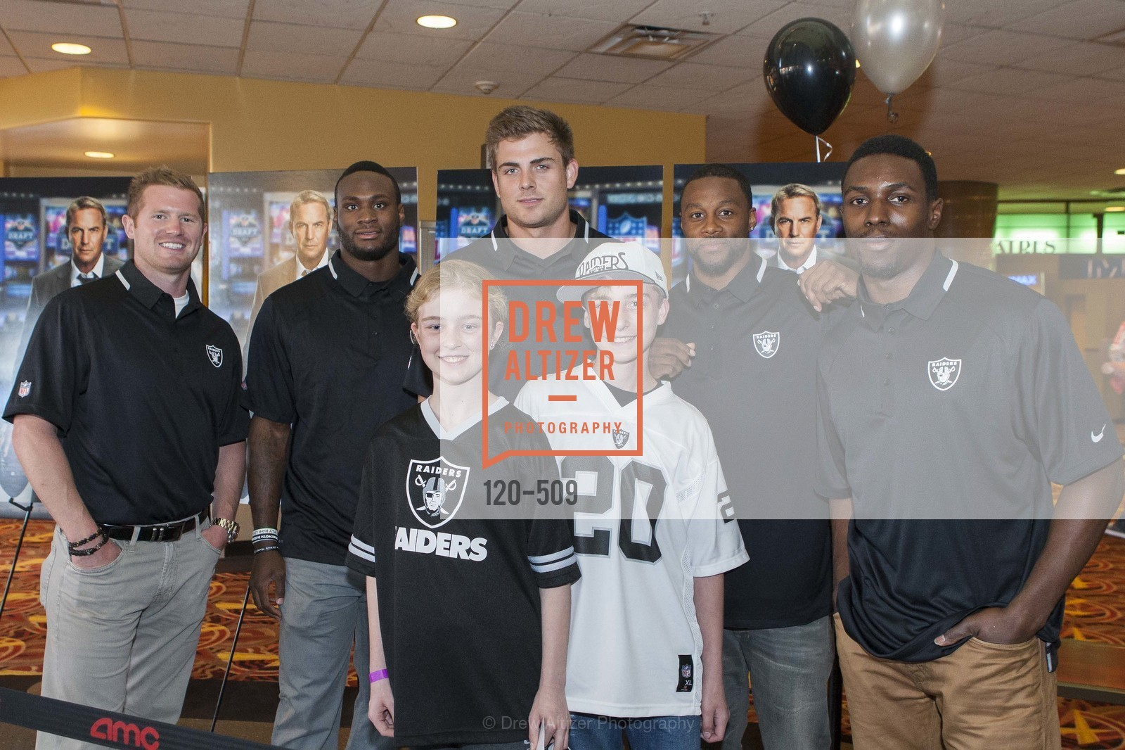 Matthew McGloin, Latavius Murray, Alex White, Nick Kasa, Jadan White, Chimdi Chekwa, SUMMIT ENTERTAINMENT Presents a Special Screening of DRAFT DAY with the Oakland Raiders, US. AMC 16 Shellmound, Emeryville, Ca, April 9th, 2014,Drew Altizer, Drew Altizer Photography, full-service agency, private events, San Francisco photographer, photographer california