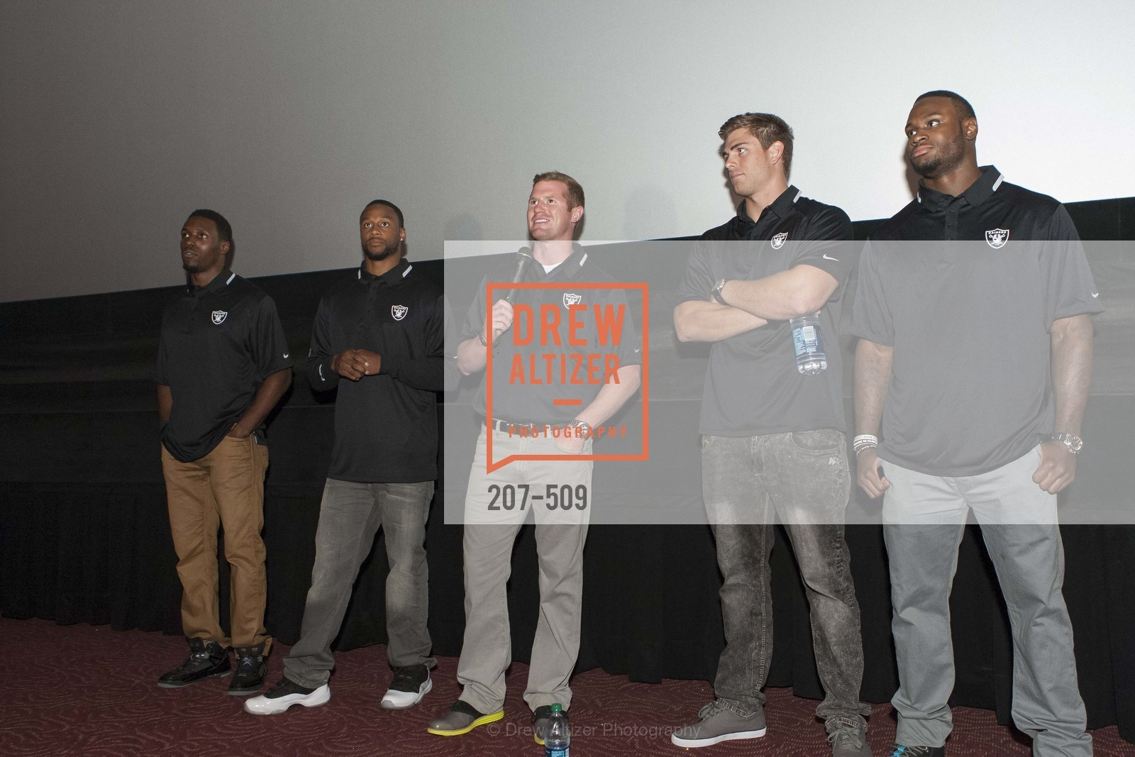 Chimdi Chekwa, Taiwan Jones, Matthew McGloin, Nick Kasa, Latavius Murray, SUMMIT ENTERTAINMENT Presents a Special Screening of DRAFT DAY with the Oakland Raiders, US. AMC 16 Shellmound, Emeryville, Ca, April 9th, 2014,Drew Altizer, Drew Altizer Photography, full-service agency, private events, San Francisco photographer, photographer california