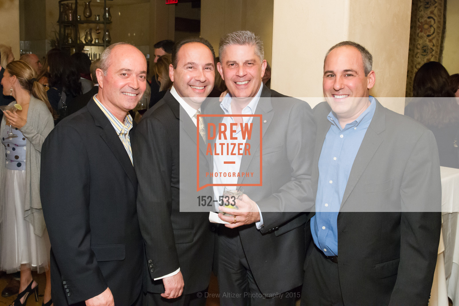 John Gumas, Gary Vrionis, Paul Sogotis, Dino Constantinides, Hellenic Charity Ball Cocktail Reception, Kokkari. 200 Jackson St, San Francisco, CA 94111, November 13th, 2015,Drew Altizer, Drew Altizer Photography, full-service agency, private events, San Francisco photographer, photographer california