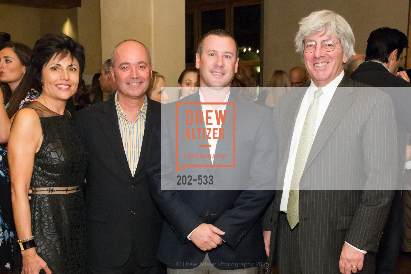 Joan Dauria, John Gumas, Gus Panagotacos, Byron Scordelis, Hellenic Charity Ball Cocktail Reception, Kokkari. 200 Jackson St, San Francisco, CA 94111, November 13th, 2015,Drew Altizer, Drew Altizer Photography, full-service agency, private events, San Francisco photographer, photographer california