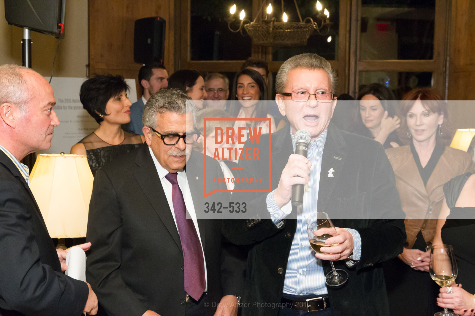 Ken Frangadakis, George Marcus, Hellenic Charity Ball Cocktail Reception, Kokkari. 200 Jackson St, San Francisco, CA 94111, November 13th, 2015,Drew Altizer, Drew Altizer Photography, full-service agency, private events, San Francisco photographer, photographer california
