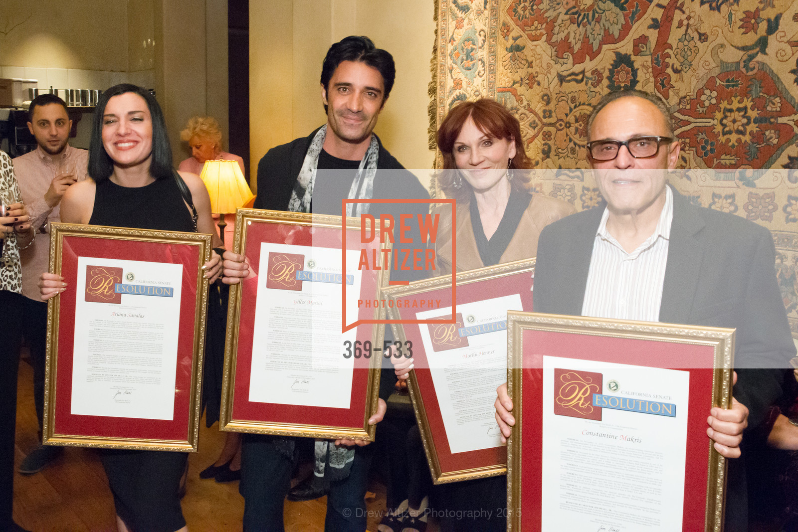 Ariana Savalas, Gilles Marini, Marilu Henner, Constantine Makris, Hellenic Charity Ball Cocktail Reception, Kokkari. 200 Jackson St, San Francisco, CA 94111, November 13th, 2015,Drew Altizer, Drew Altizer Photography, full-service agency, private events, San Francisco photographer, photographer california