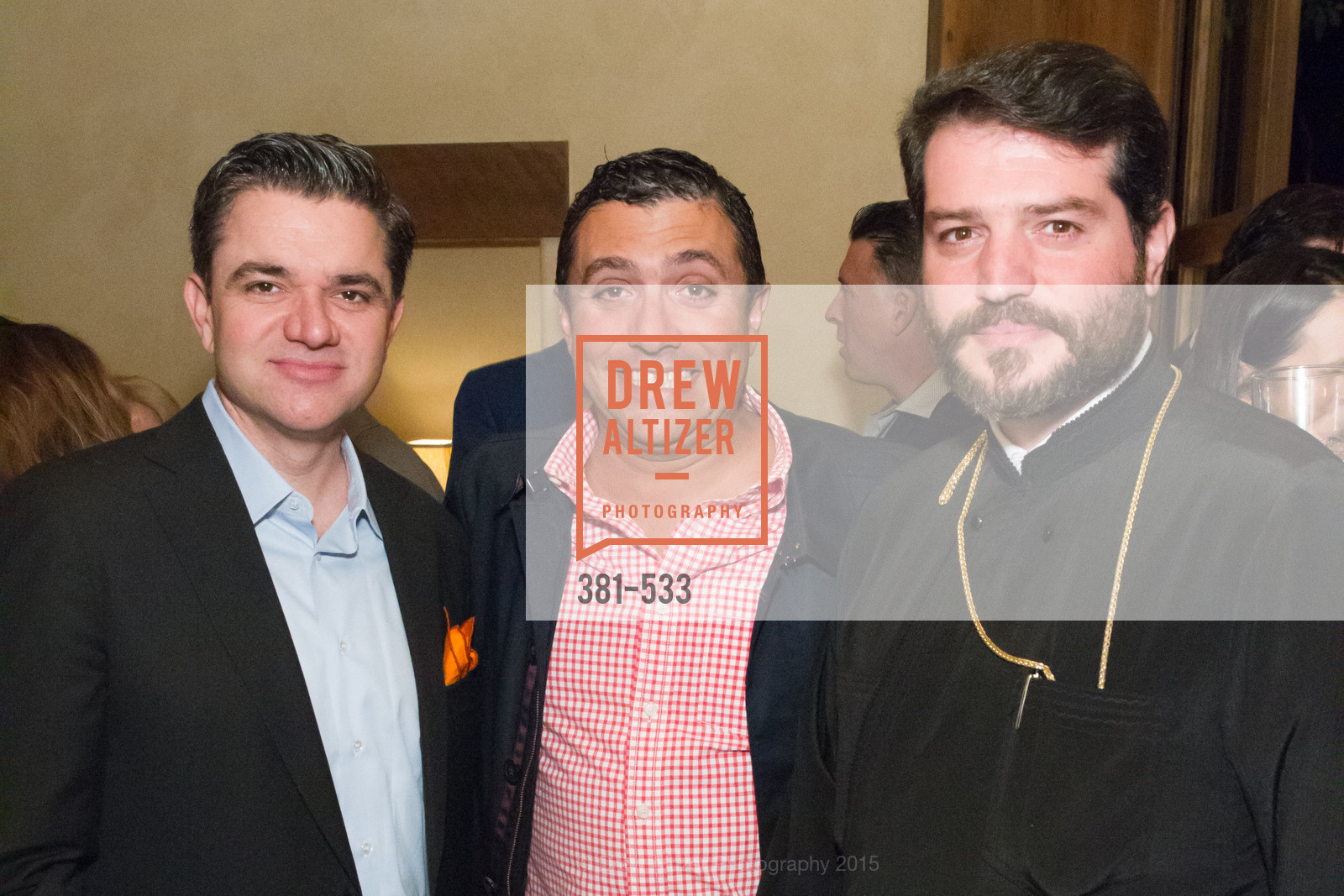 John Costouros, George Gavros, Apostolos Koufalakis, Hellenic Charity Ball Cocktail Reception, Kokkari. 200 Jackson St, San Francisco, CA 94111, November 13th, 2015,Drew Altizer, Drew Altizer Photography, full-service agency, private events, San Francisco photographer, photographer california