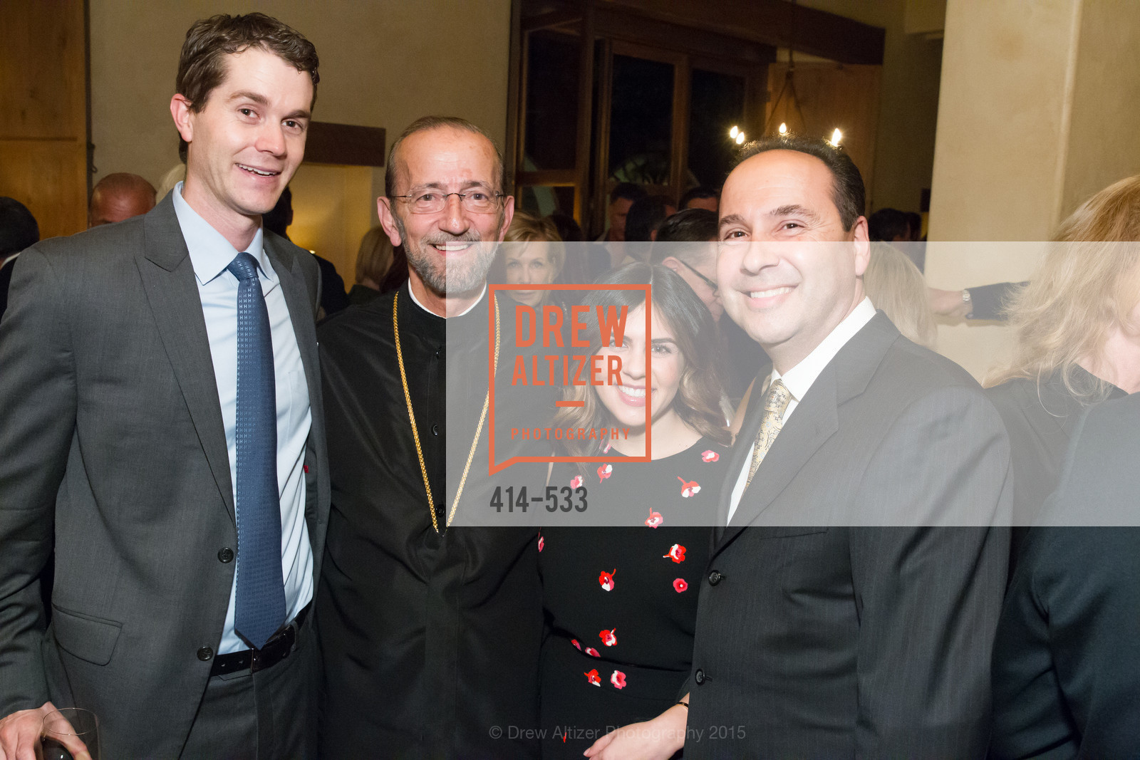 Michael Cella, Metropolitan Gerasimos, Victoria Cella, Gary Vrionis, Hellenic Charity Ball Cocktail Reception, Kokkari. 200 Jackson St, San Francisco, CA 94111, November 13th, 2015,Drew Altizer, Drew Altizer Photography, full-service agency, private events, San Francisco photographer, photographer california