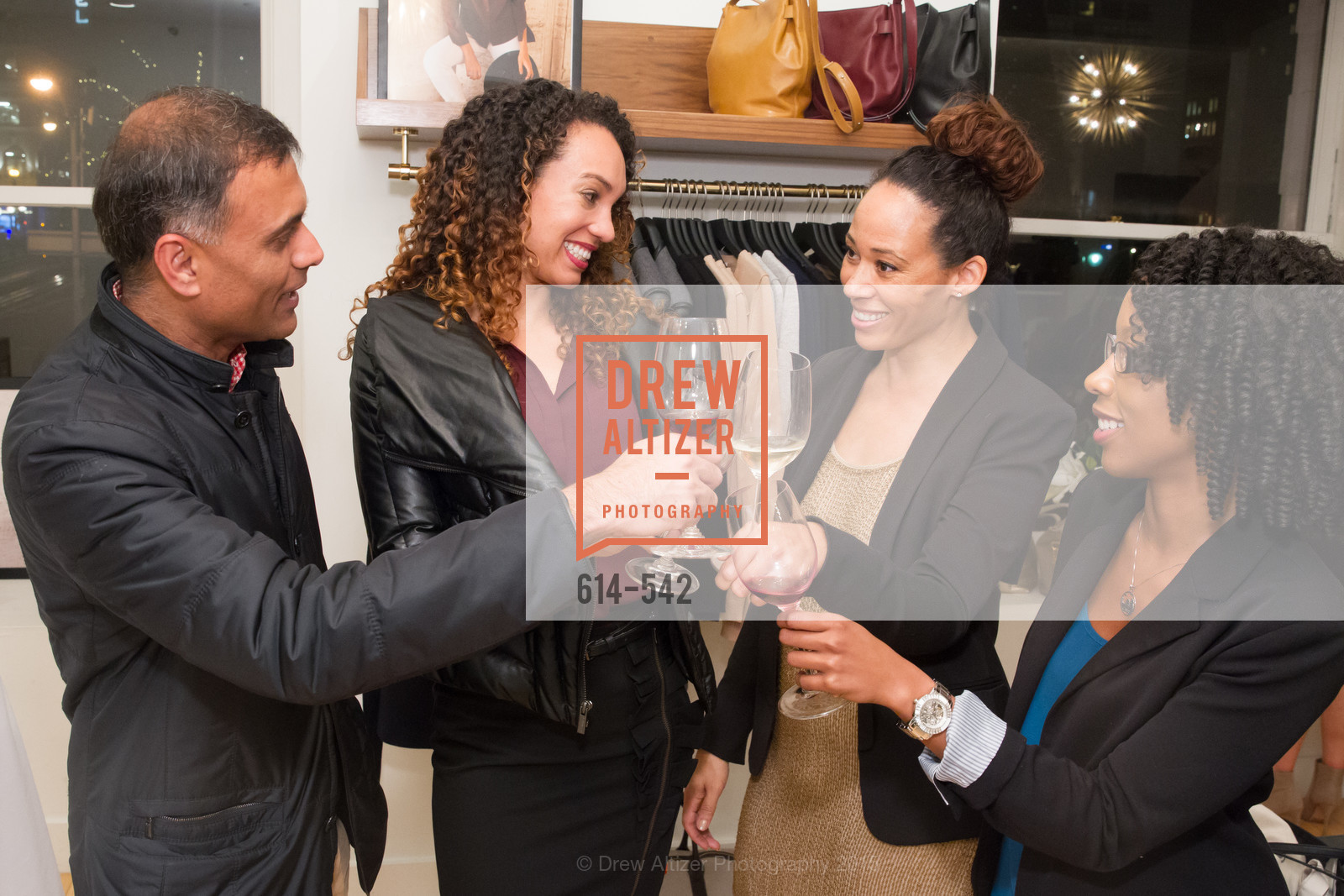 Keval Desai, Gina Clayton, Robin McBride, Robyn Cameron, Cuyana + The McBride Sisters, Cayuna Showroom. 291 Geary Street, 2nd Floor, November 19th, 2015,Drew Altizer, Drew Altizer Photography, full-service event agency, private events, San Francisco photographer, photographer California