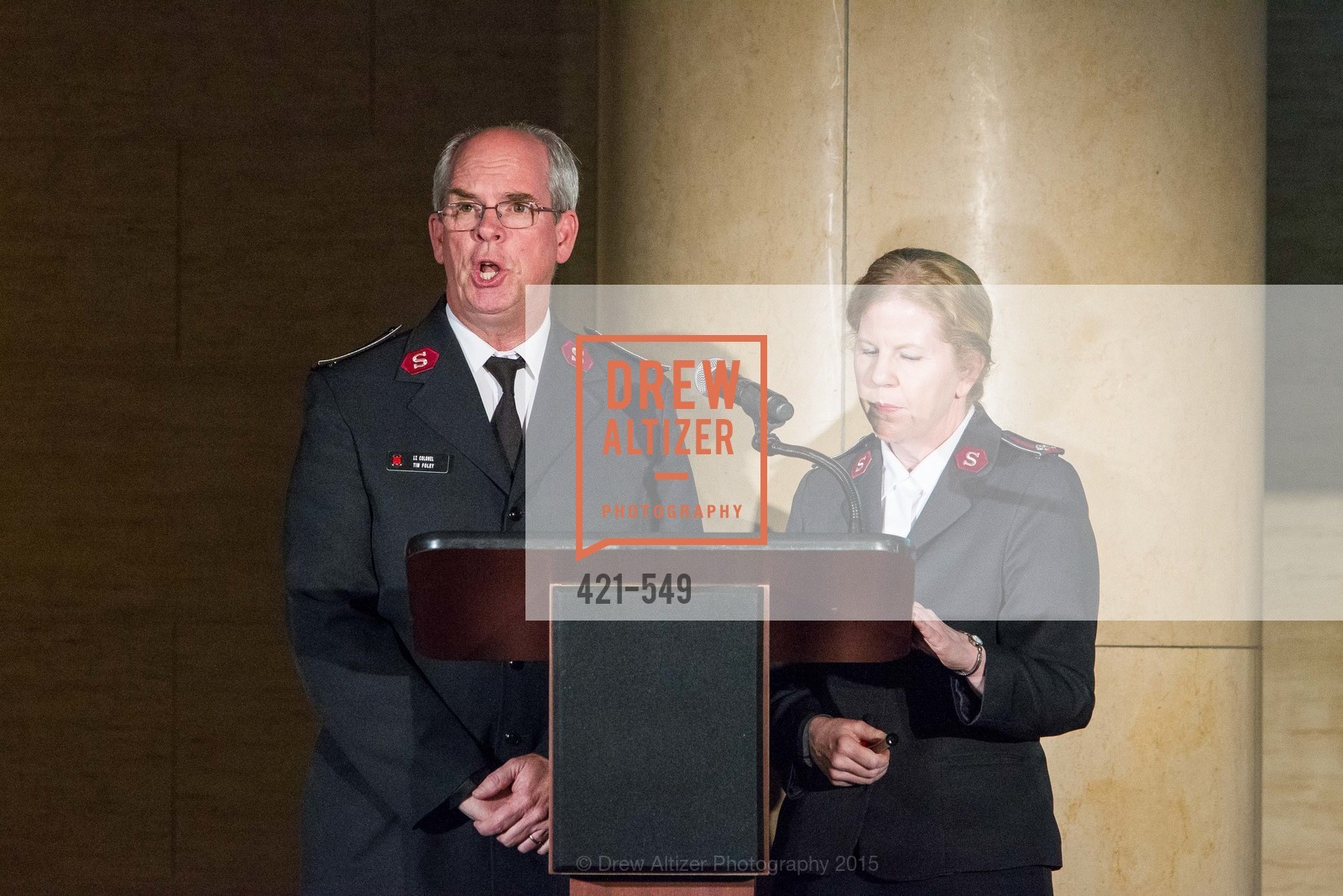 Lt. Col. Tim Foley, Lt. Col Cindy Foley, The Salvation Army's 12th Annual Holiday Luncheon Kettle Kickoff, The Bently Reserve. 301 Battery St, November 18th, 2015,Drew Altizer, Drew Altizer Photography, full-service agency, private events, San Francisco photographer, photographer california
